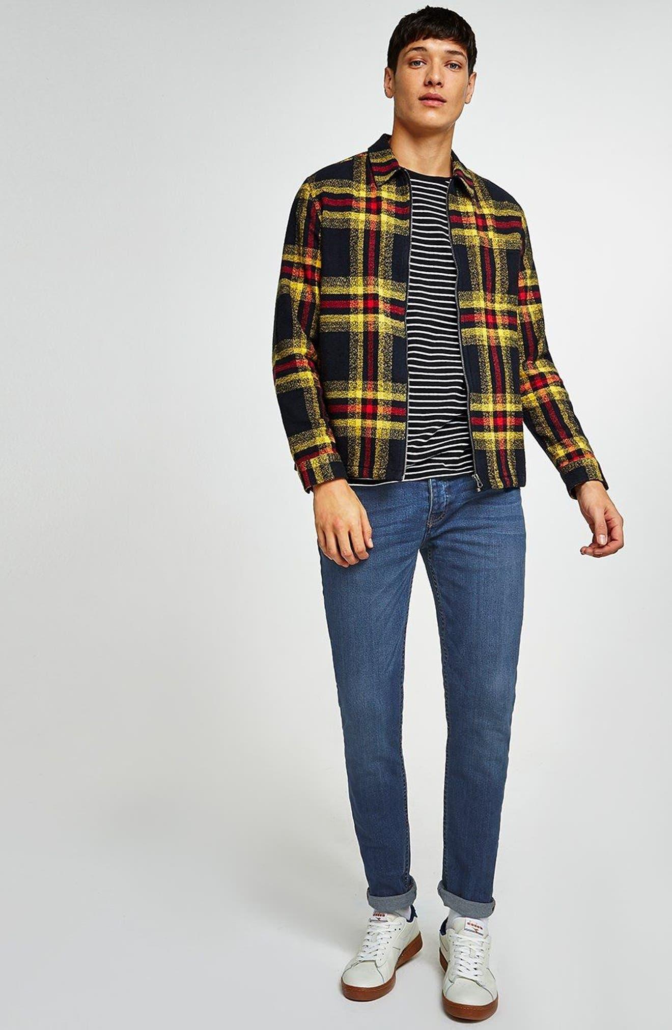 TOPMAN, Stretch Skinny Fit Jeans, Alternate thumbnail 5, color, BLUE