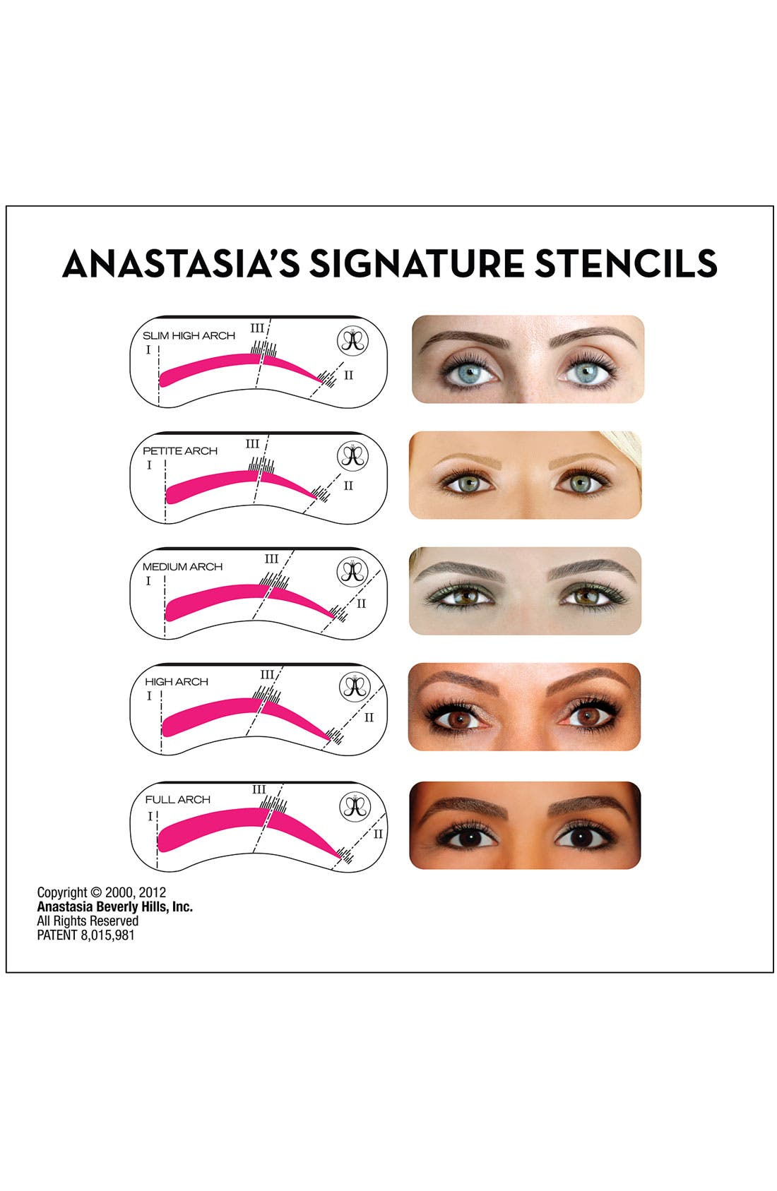 ANASTASIA BEVERLY HILLS, Brow Stencils, Alternate thumbnail 2, color, NO COLOR