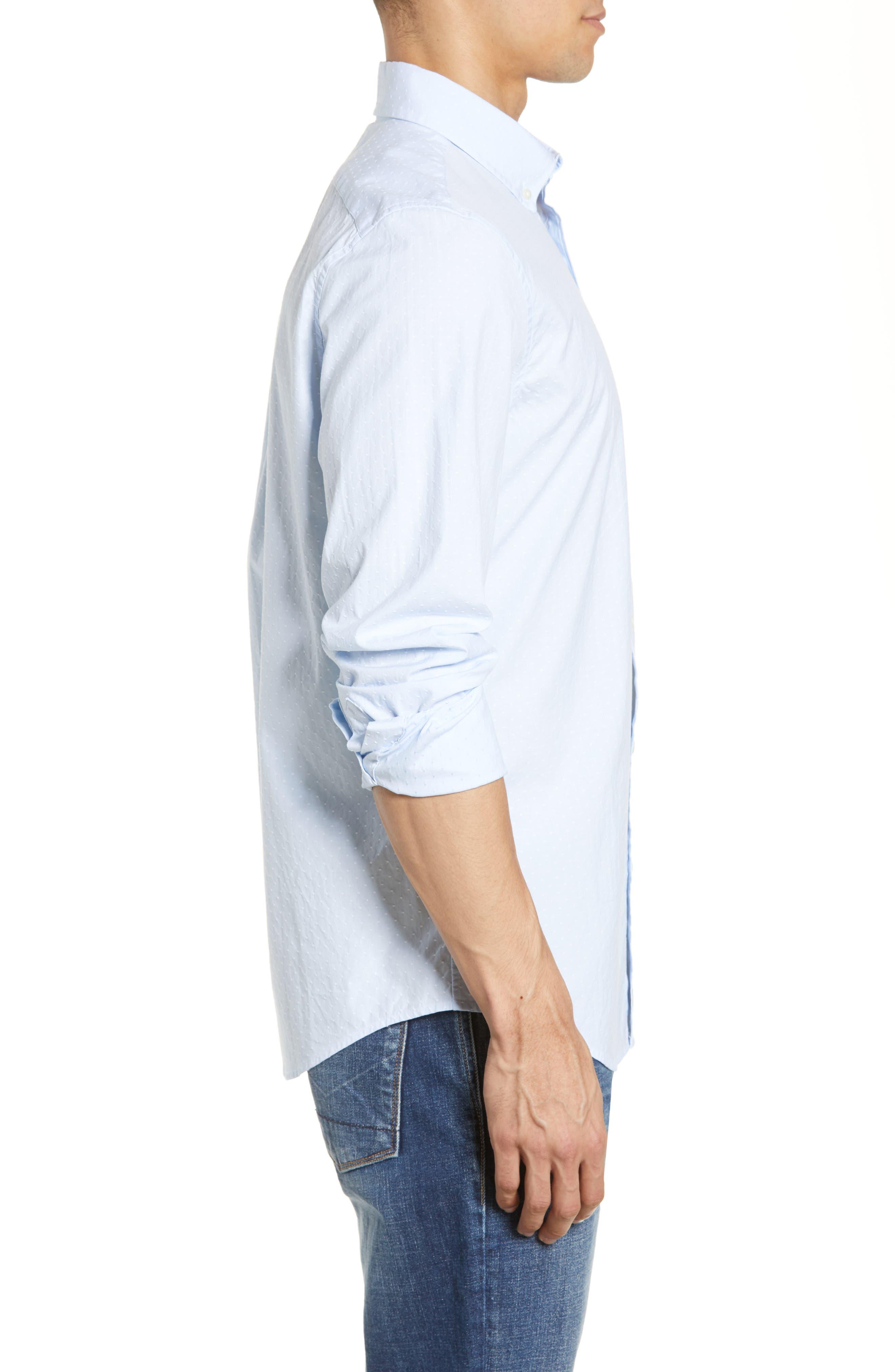 VINEYARD VINES, Wavine Slim Fit Dobby Sport Shirt, Alternate thumbnail 4, color, JAKE BLUE