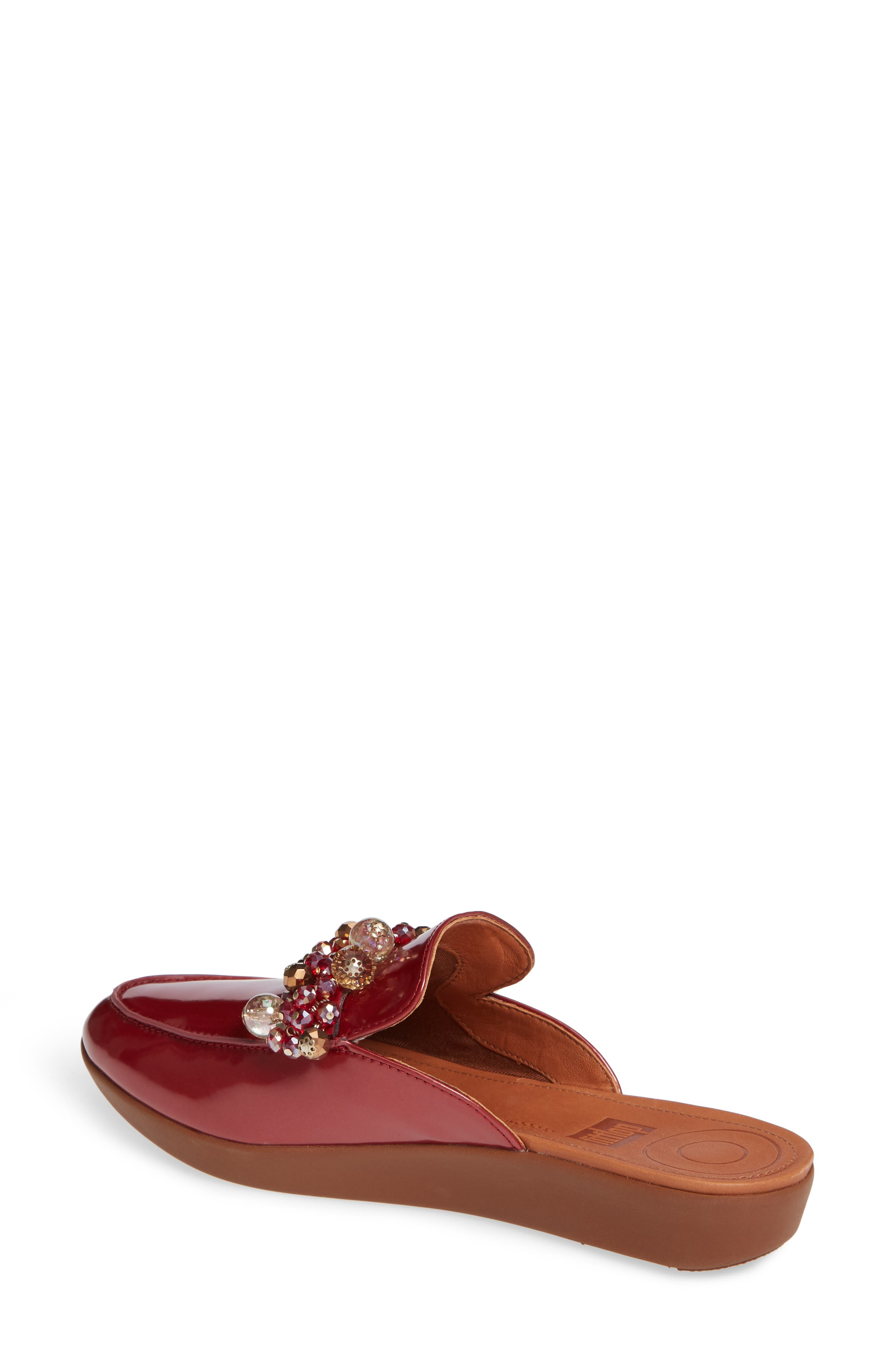 FITFLOP, Serene Beaded Mule, Alternate thumbnail 2, color, FIRE RED PATENT LEATHER