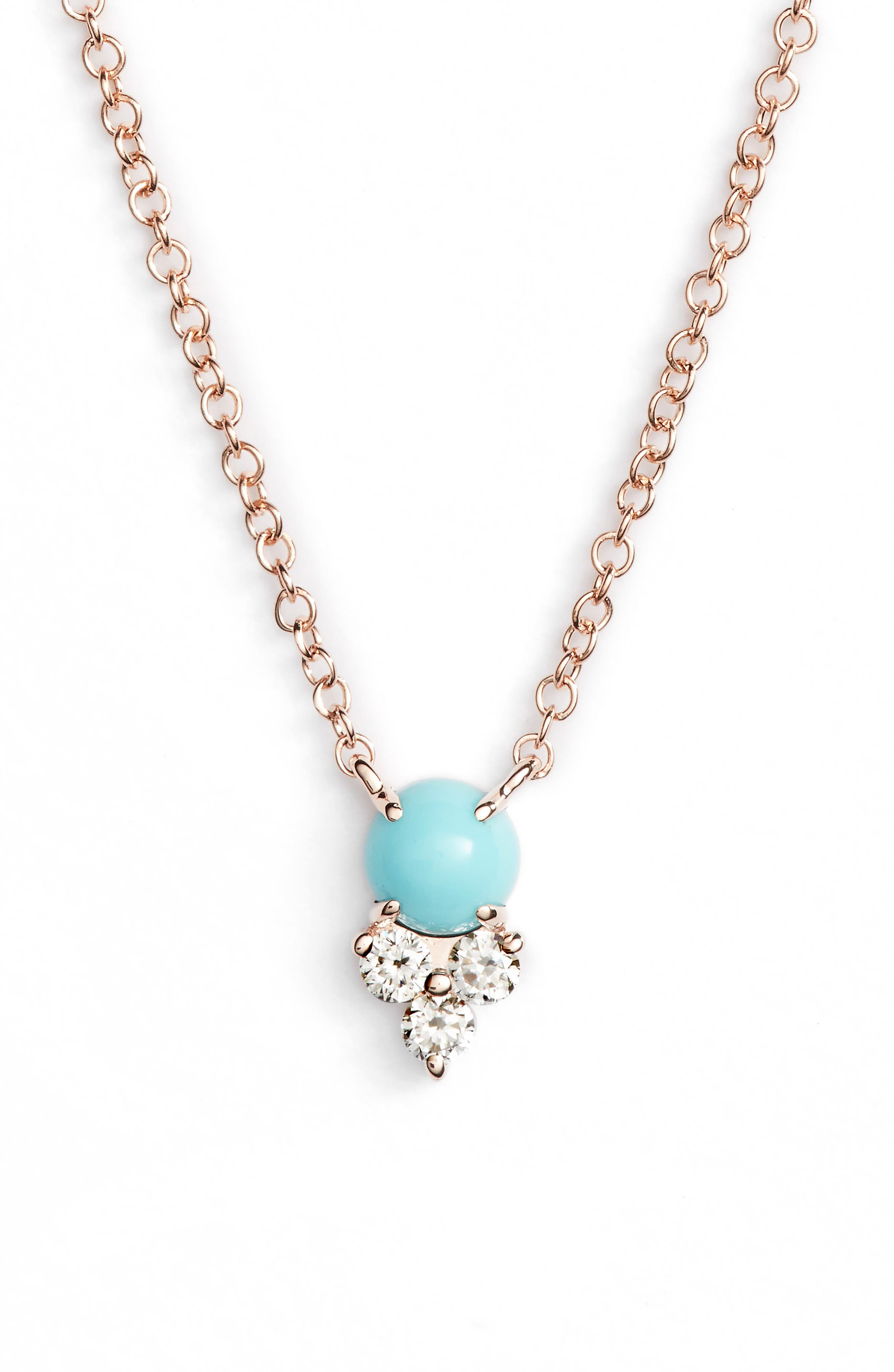 EF COLLECTION, Diamond Trio Stone Pendant Necklace, Main thumbnail 1, color, ROSE GOLD/ TURQUOISE