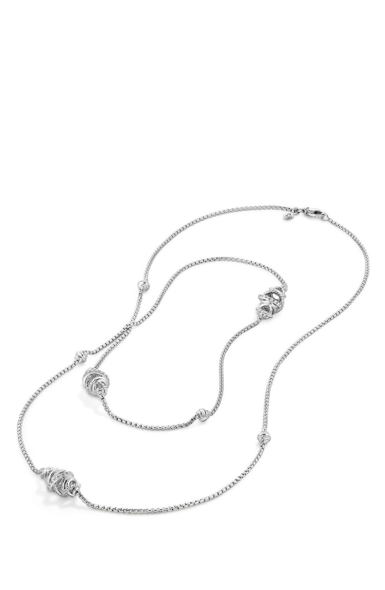 DAVID YURMAN, Crossover Station Necklace with Diamonds, Alternate thumbnail 3, color, SILVER