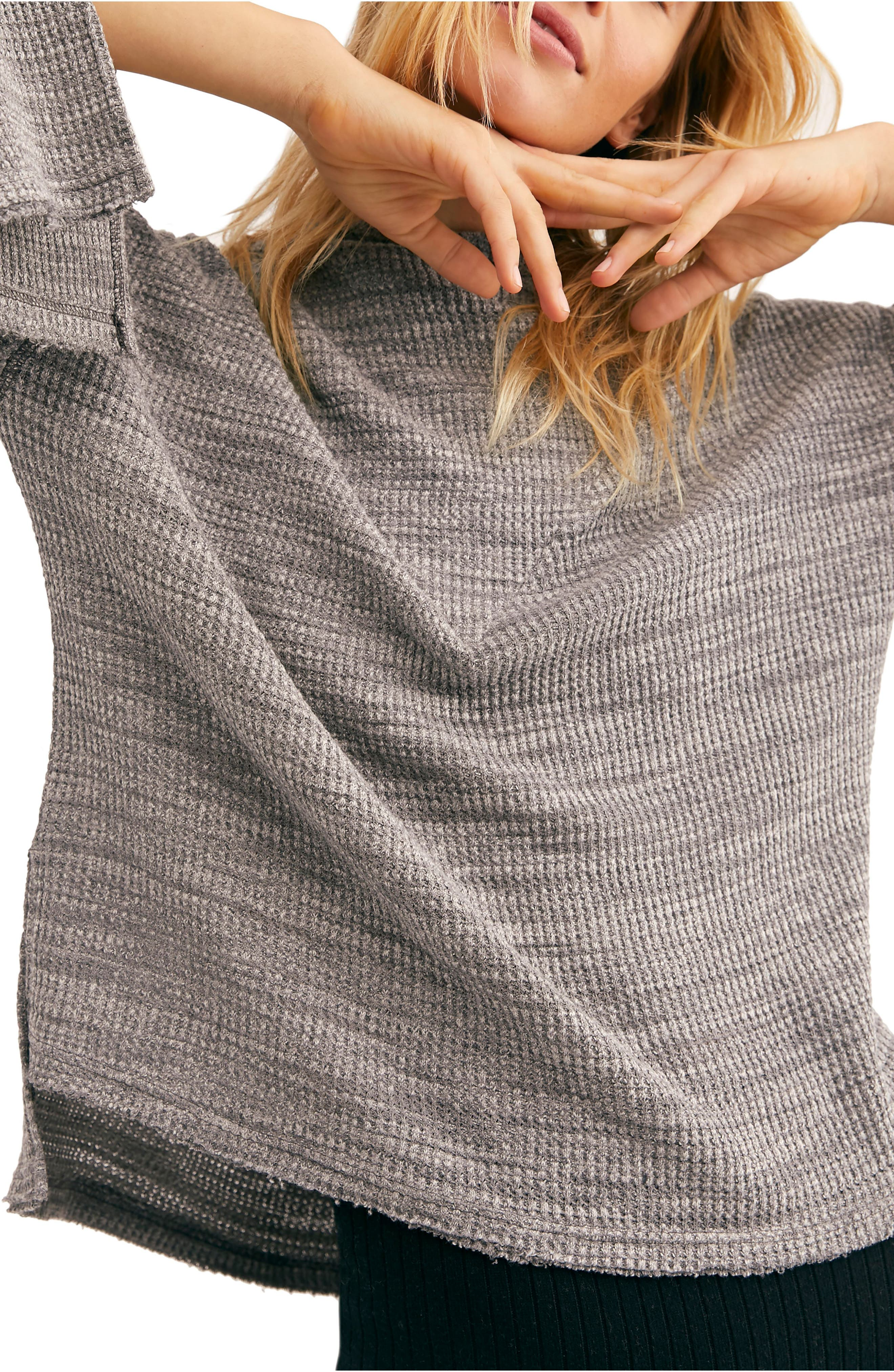 FREE PEOPLE, Endless Summer by Free People Hooded Knit Top, Alternate thumbnail 4, color, GREY