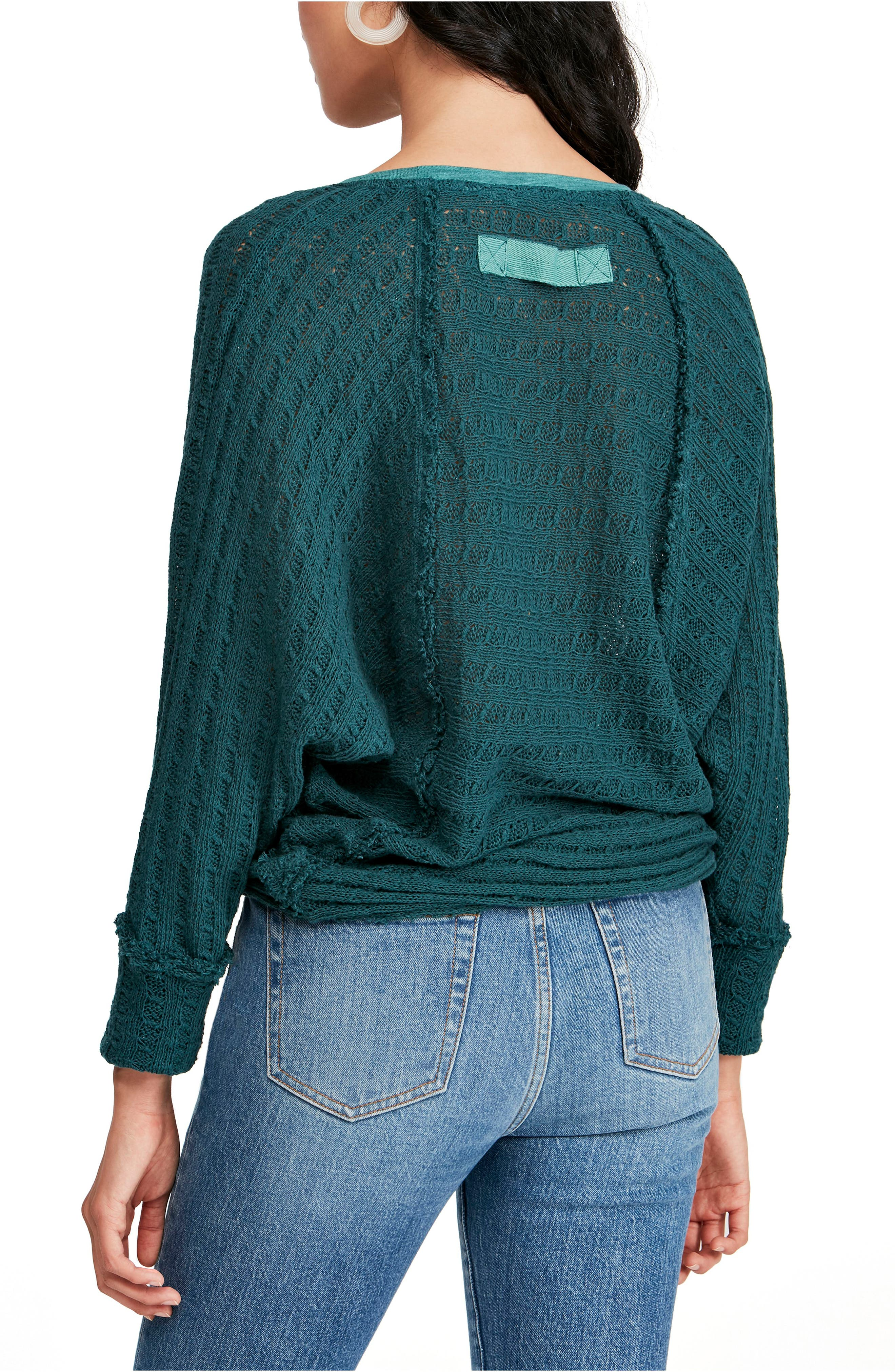 FREE PEOPLE, Thien's Hacci Top, Alternate thumbnail 2, color, TURQUOISE