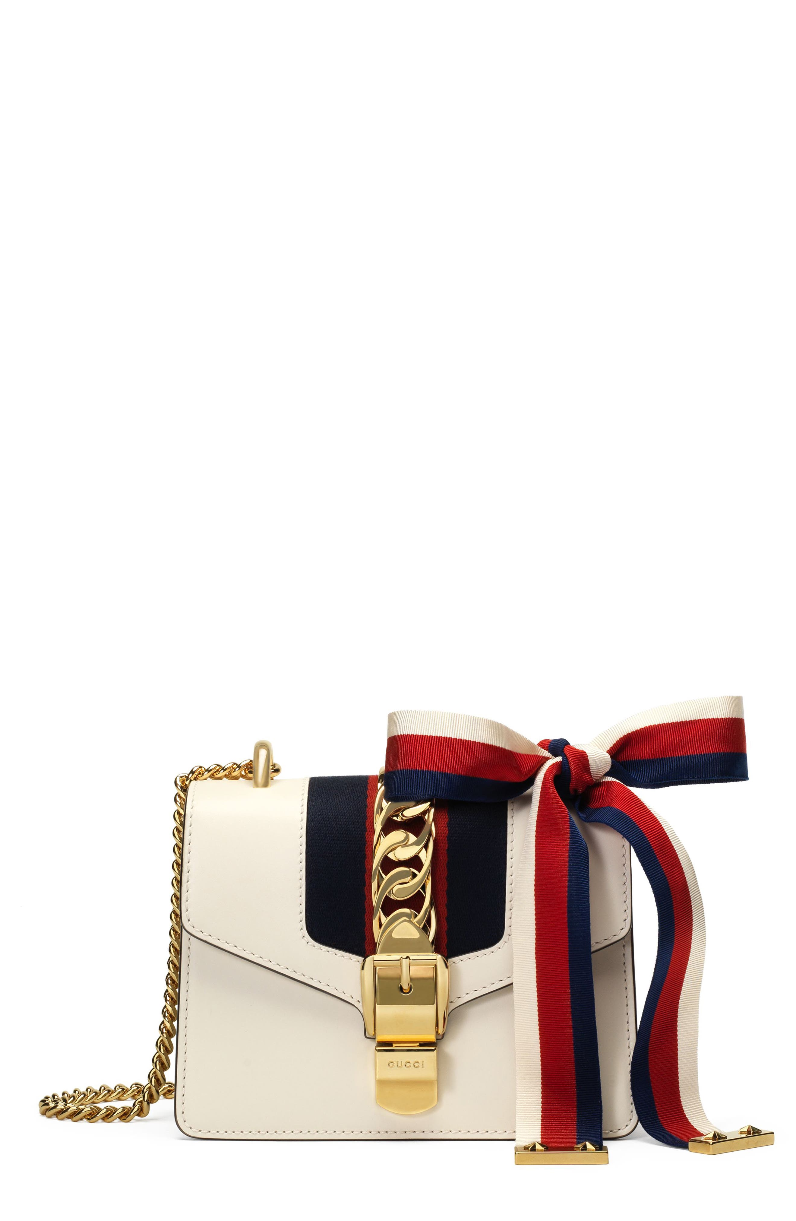 GUCCI Mini Sylvie Leather Shoulder Bag, Main, color, WHITE/ BLUE/ HIBISCUS RED