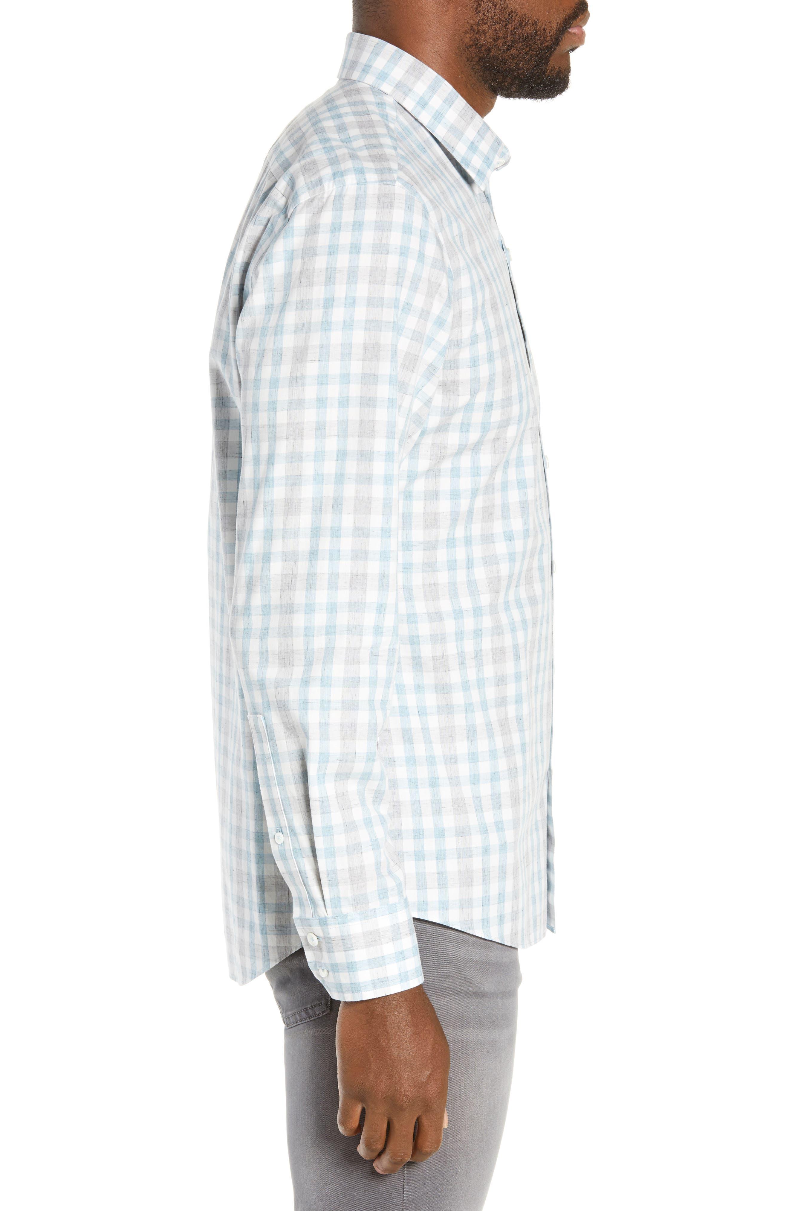 ZACHARY PRELL, Regular Fit Plaid Sport Shirt, Alternate thumbnail 4, color, LIGHT BLUE