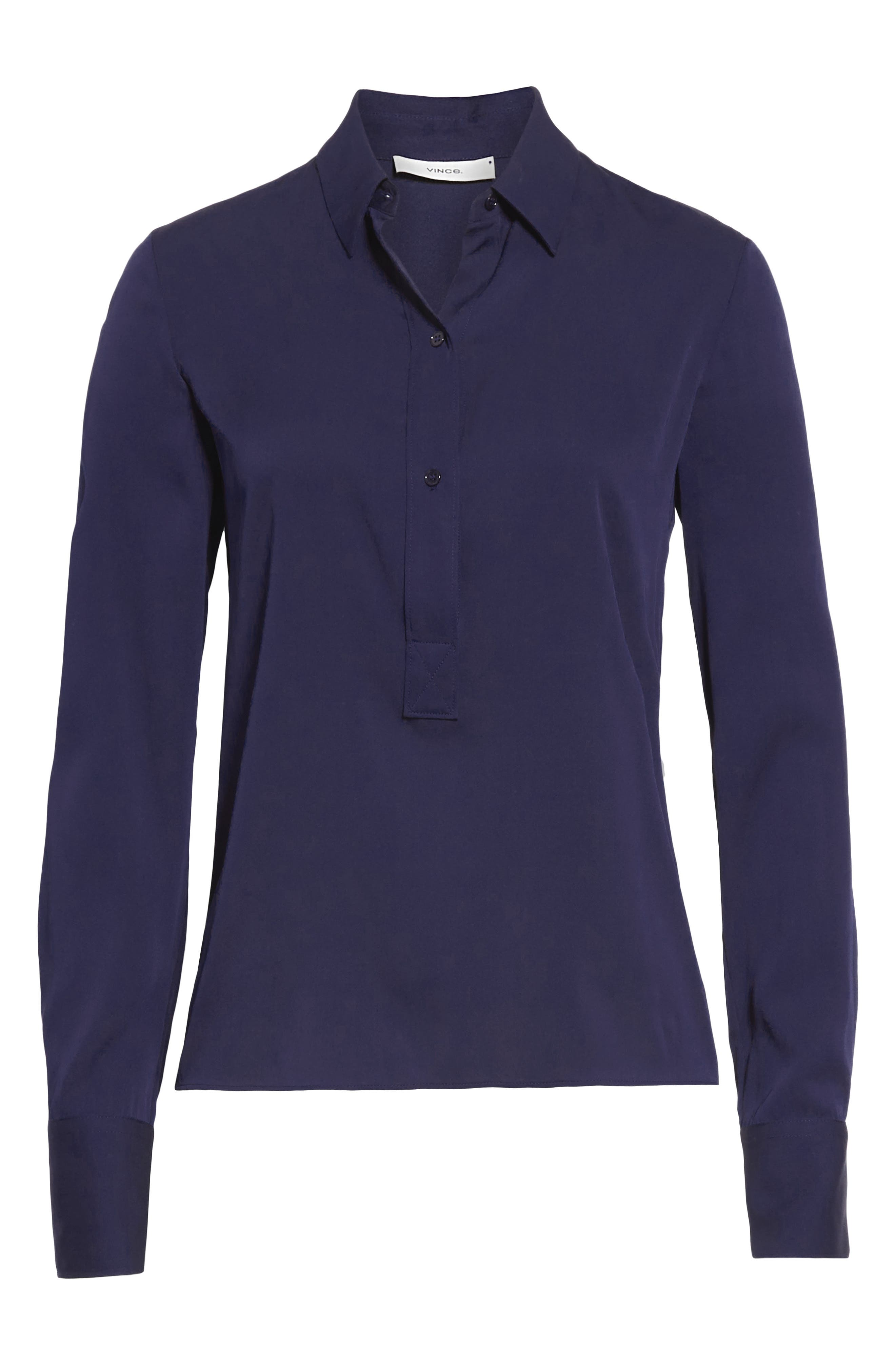 VINCE, Slim Fitted Popover Shirt, Alternate thumbnail 6, color, HYDRA