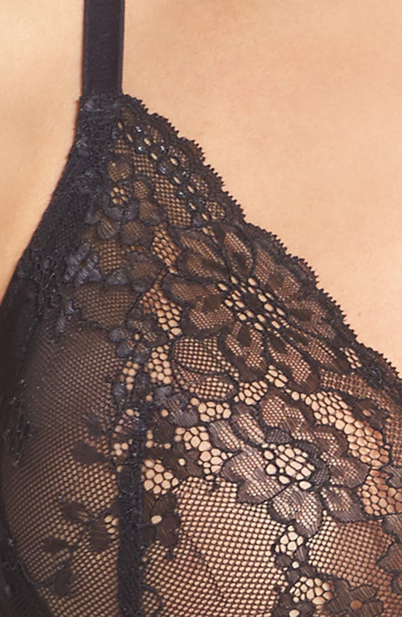 SPANX<SUP>®</SUP>, Spotlight On Lace Bralette, Alternate thumbnail 7, color, VERY BLACK