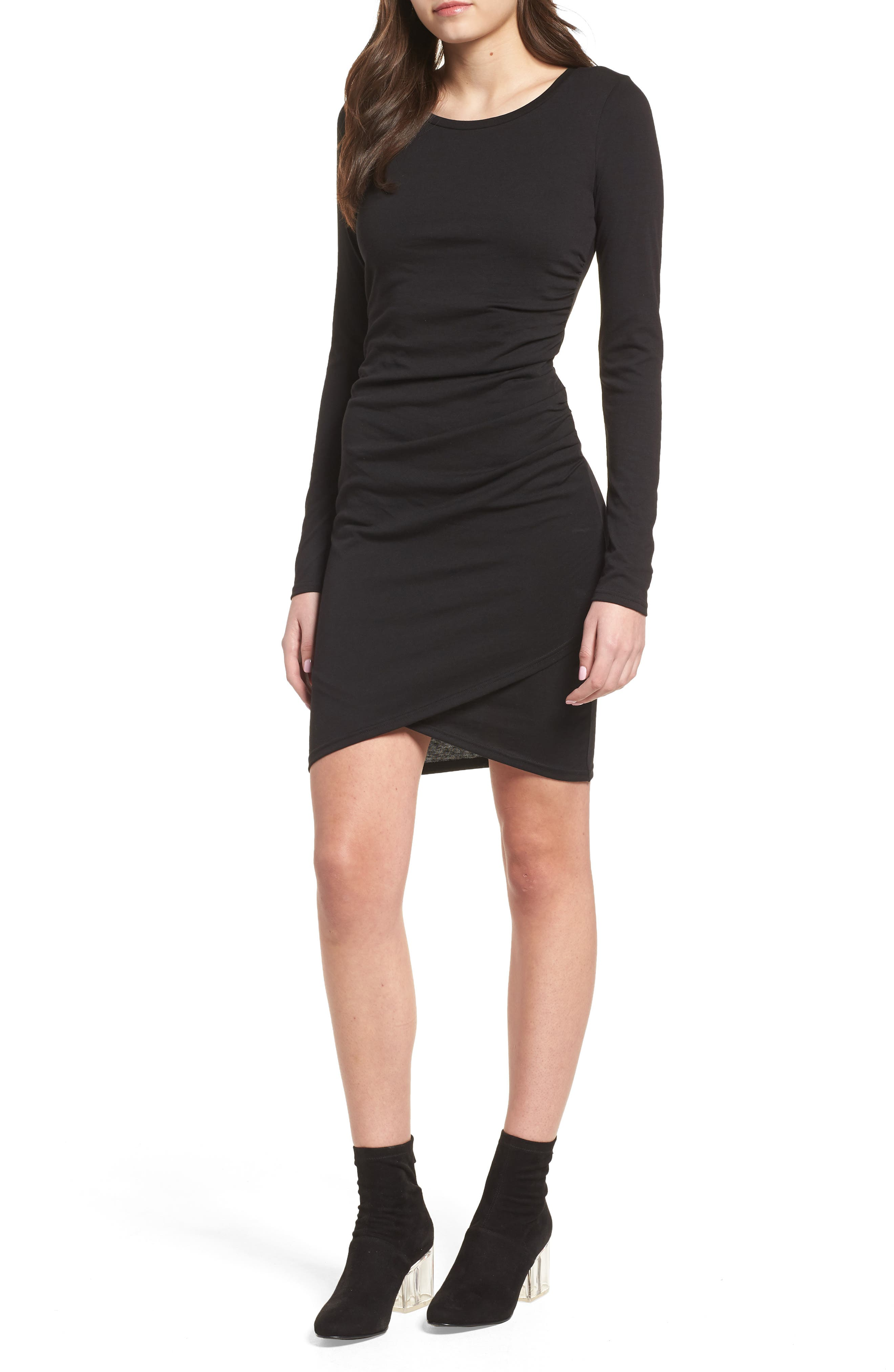 LEITH, Ruched Long Sleeve Dress, Main thumbnail 1, color, 001