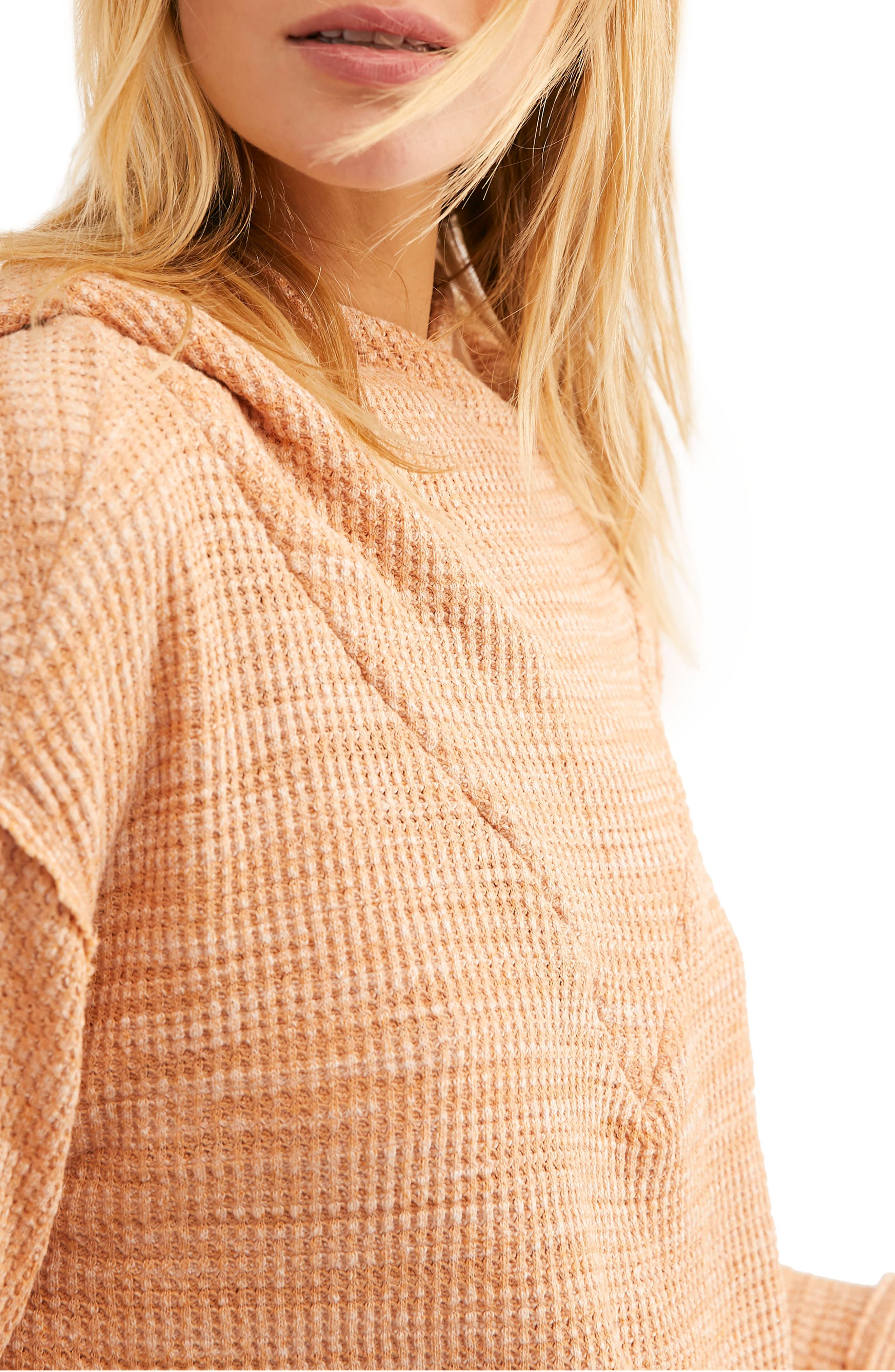 FREE PEOPLE, Endless Summer by Free People Hooded Knit Top, Alternate thumbnail 3, color, ORANGE