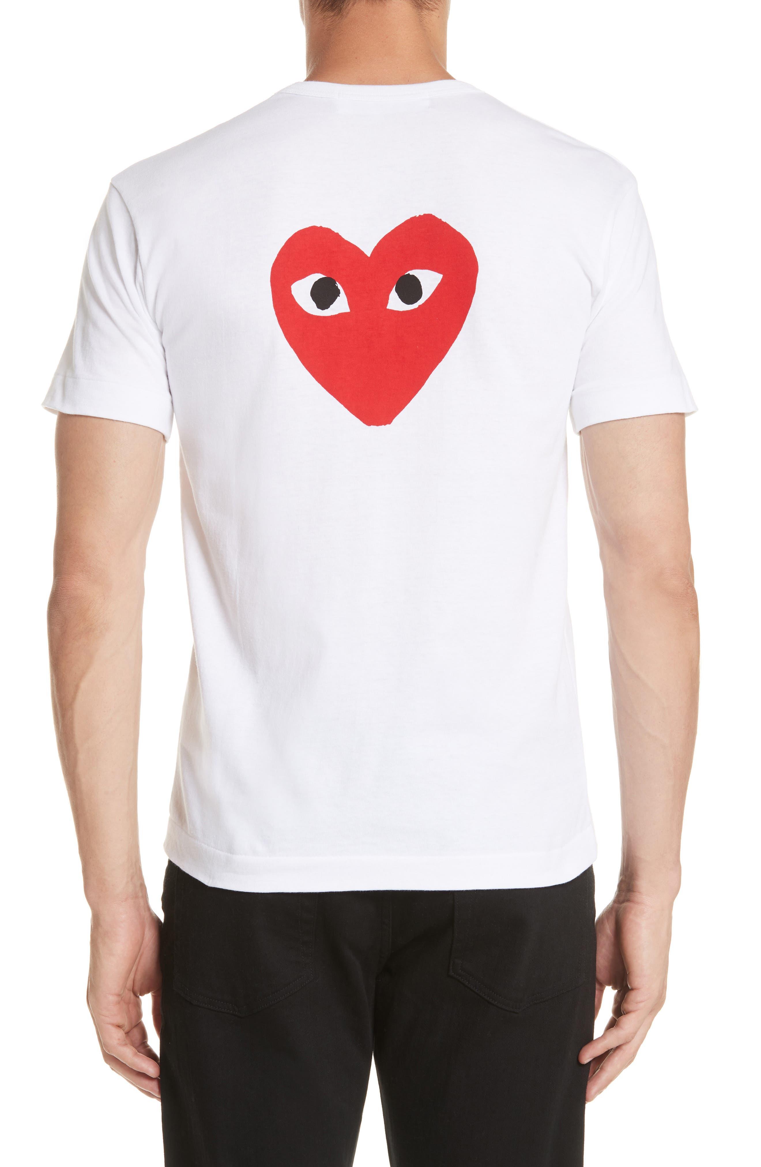 COMME DES GARÇONS PLAY, Graphic T-Shirt, Alternate thumbnail 3, color, WHITE 1