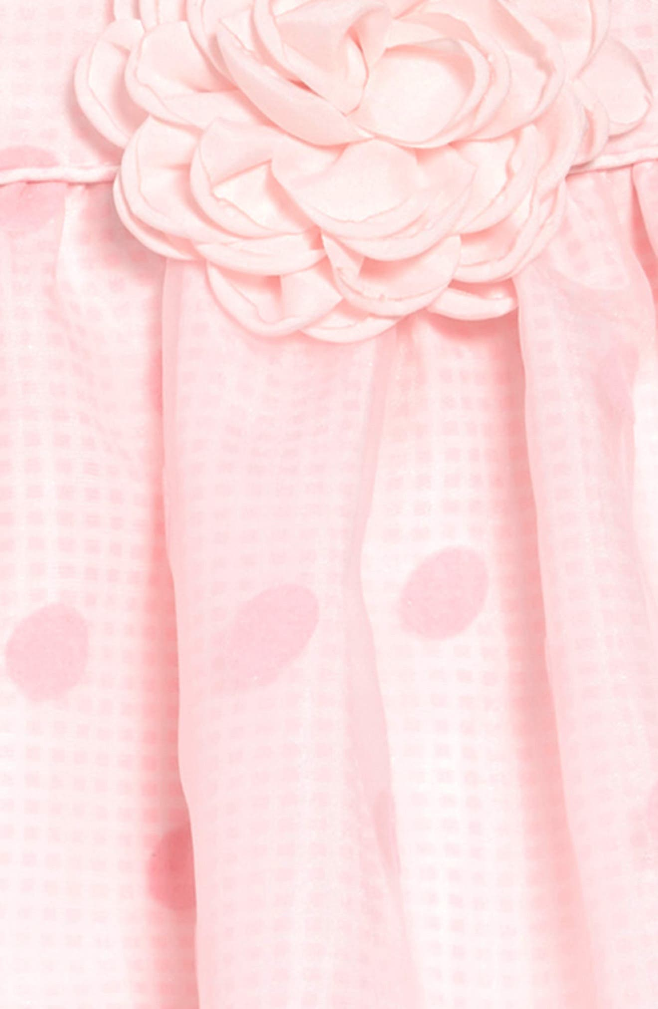 FRAIS, Dot Overlay Gingham Dress, Alternate thumbnail 3, color, PINK