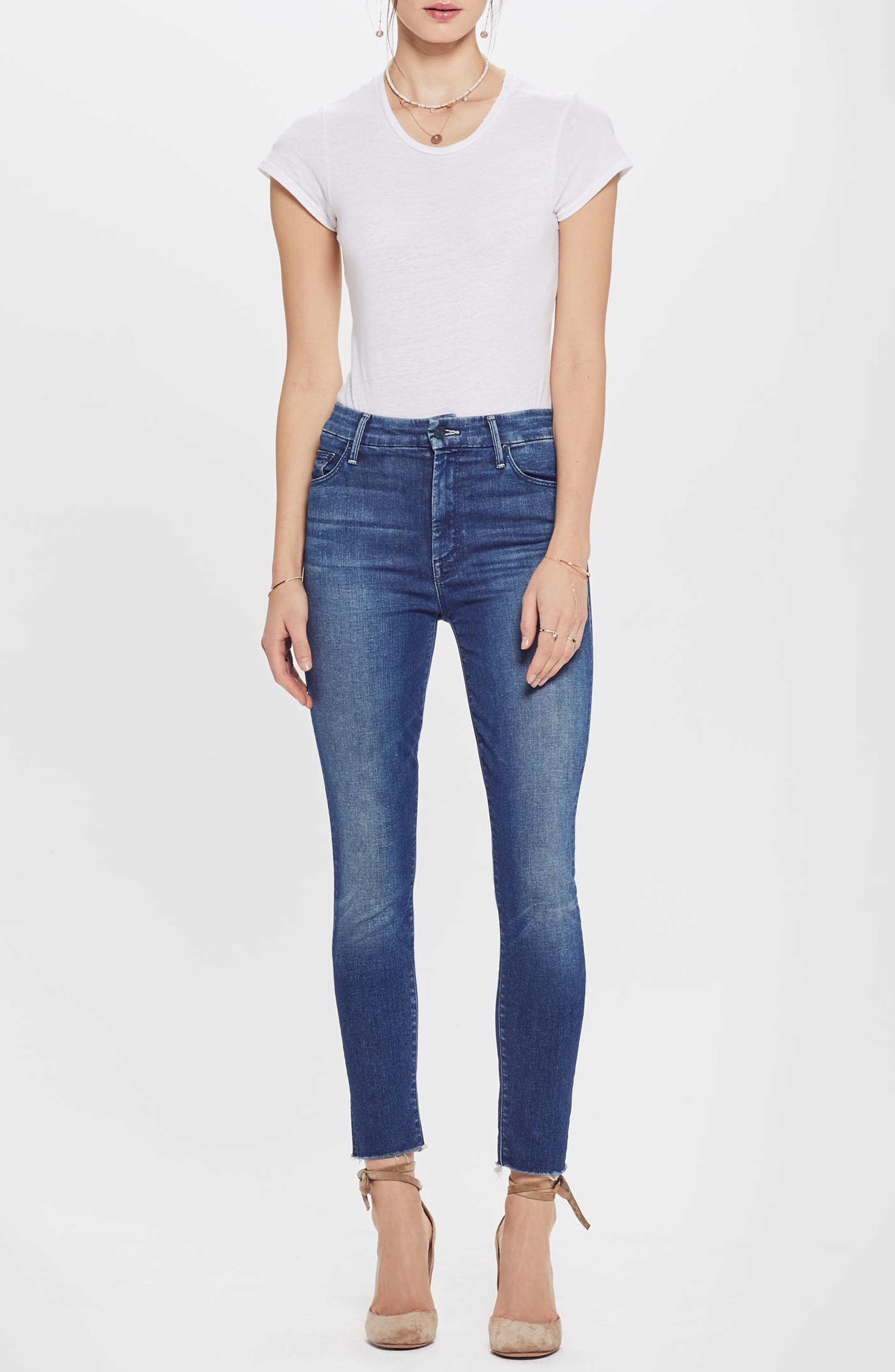 MOTHER, The Looker High Waist Frayed Ankle Skinny Jeans, Alternate thumbnail 4, color, LURE ME IN