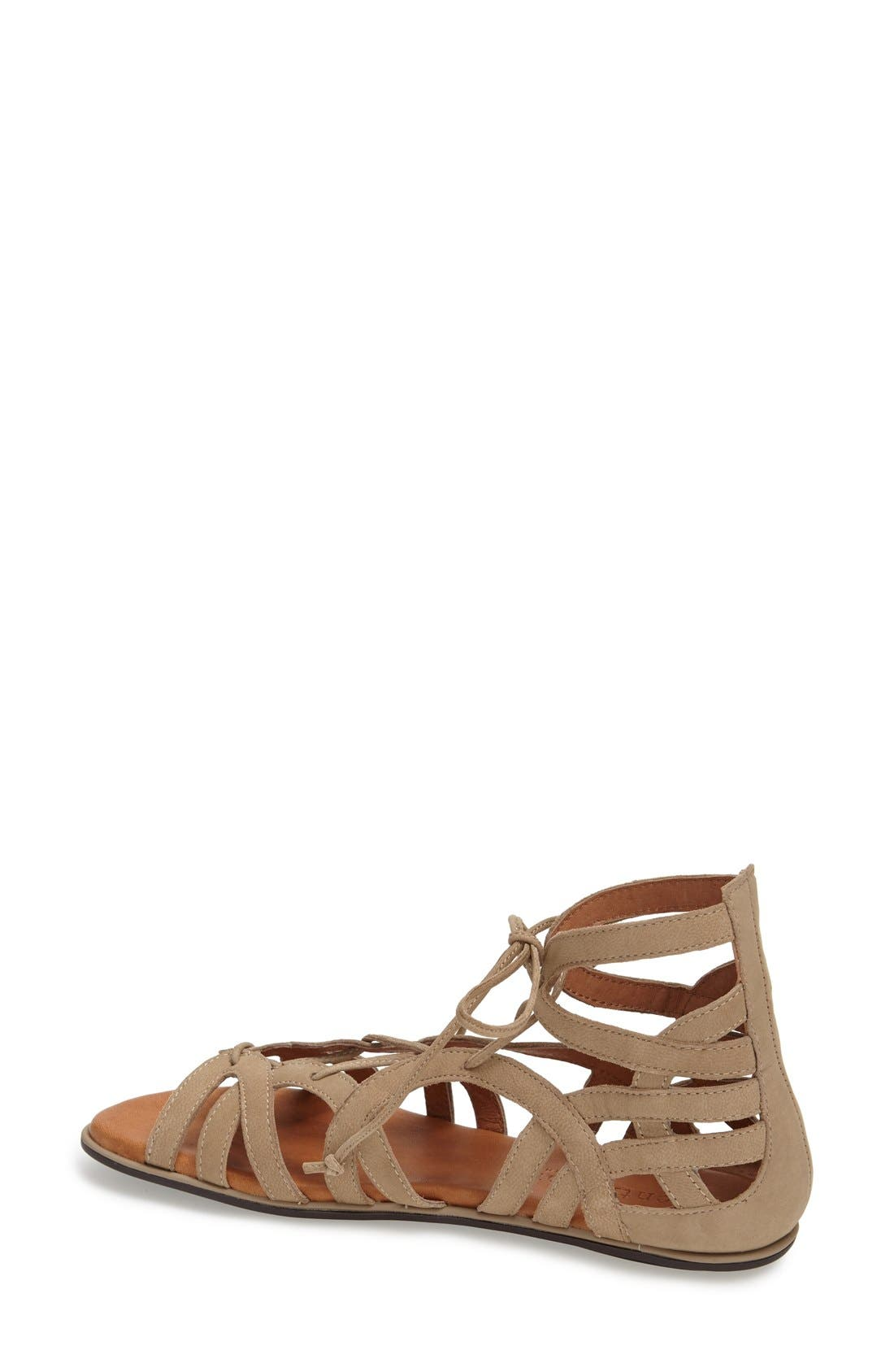 GENTLE SOULS BY KENNETH COLE, 'Break My Heart 3' Cage Sandal, Alternate thumbnail 2, color, TAUPE SUEDE