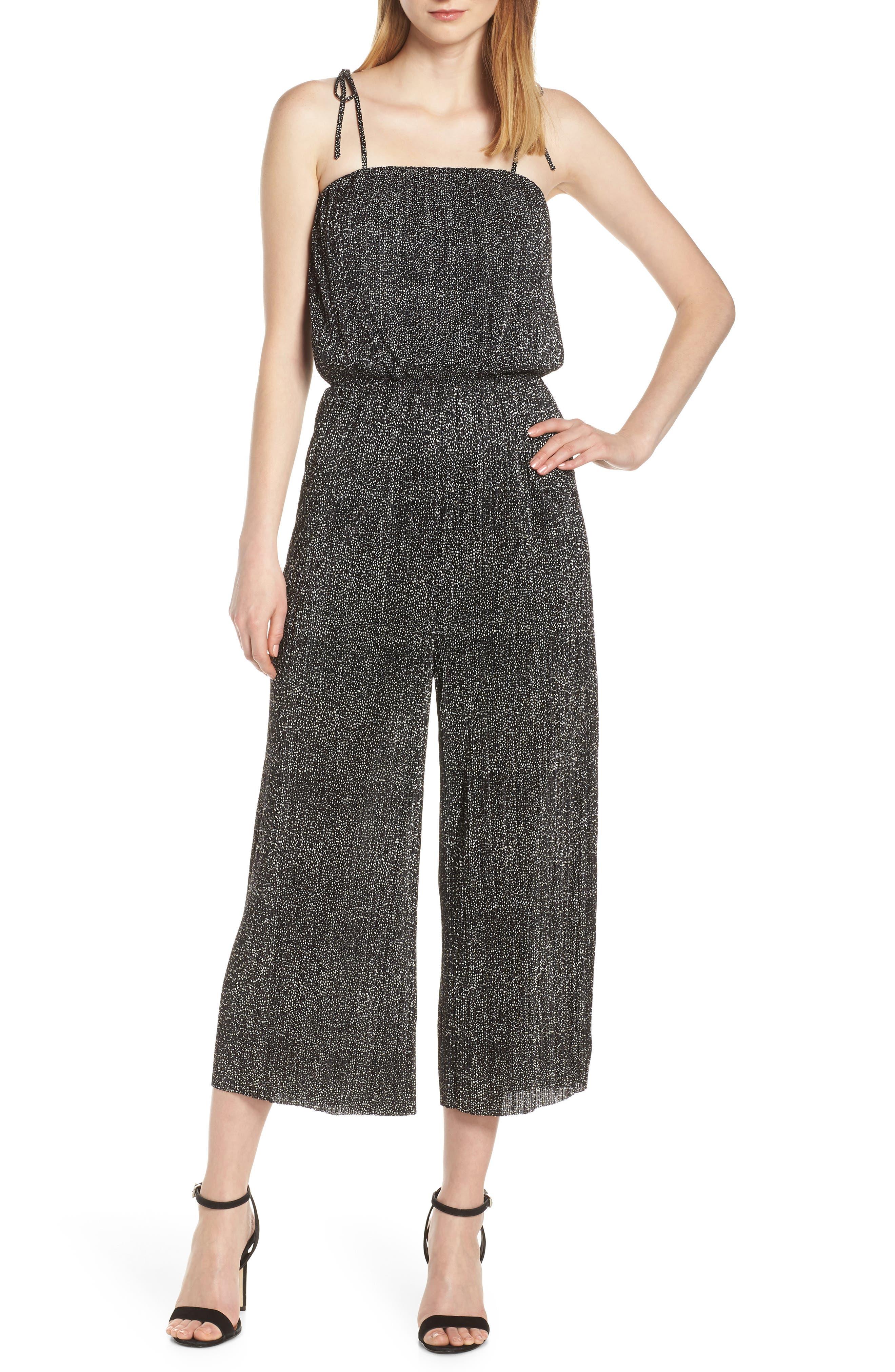 19 COOPER Tie Shoulder Jumpsuit, Main, color, BLACK/ WHITE