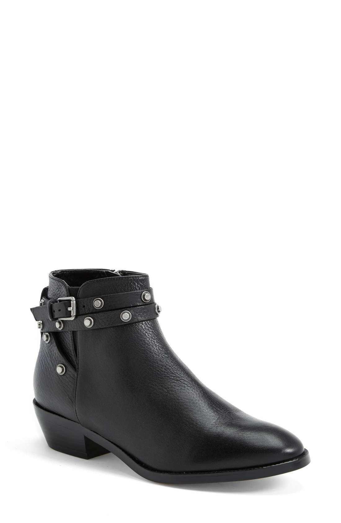 HALOGEN<SUP>®</SUP>, Halogen 'Lidia' Studded Leather Ankle Bootie, Main thumbnail 1, color, 001