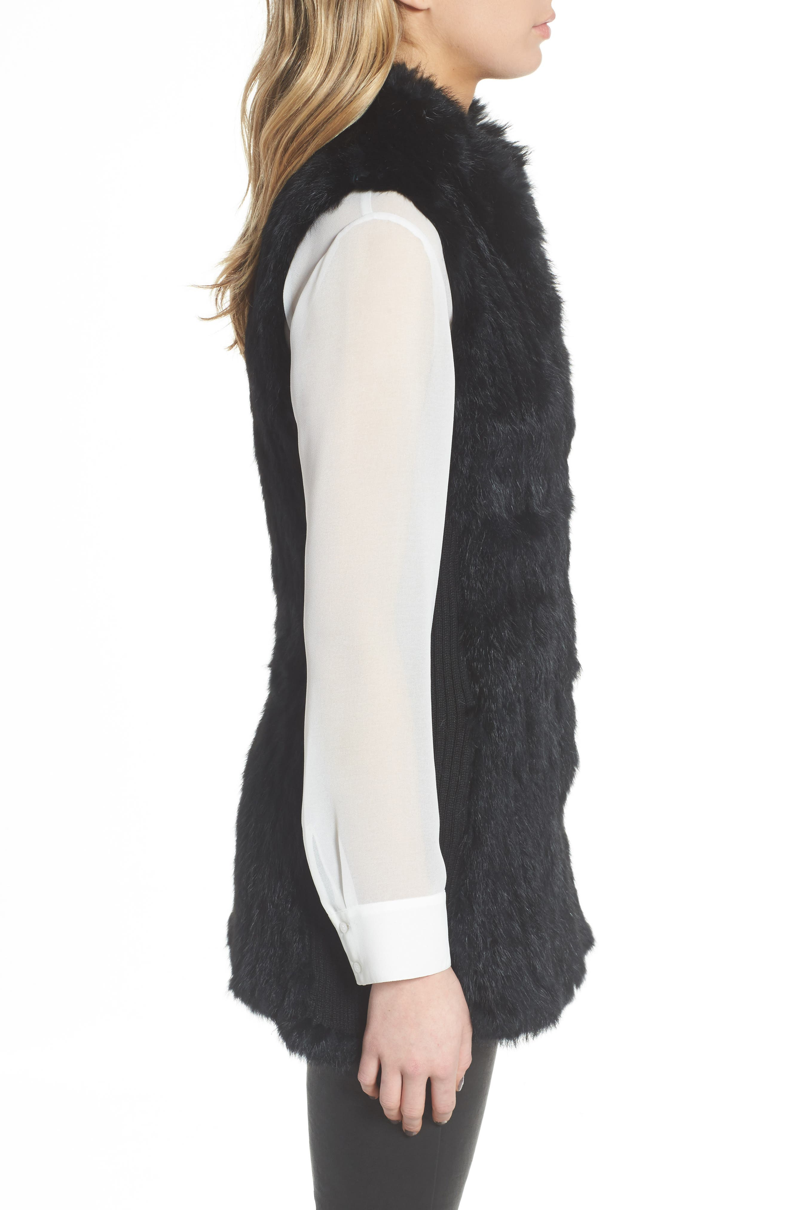 LOVE TOKEN, Genuine Rabbit Fur & Knit Vest, Alternate thumbnail 3, color, 001