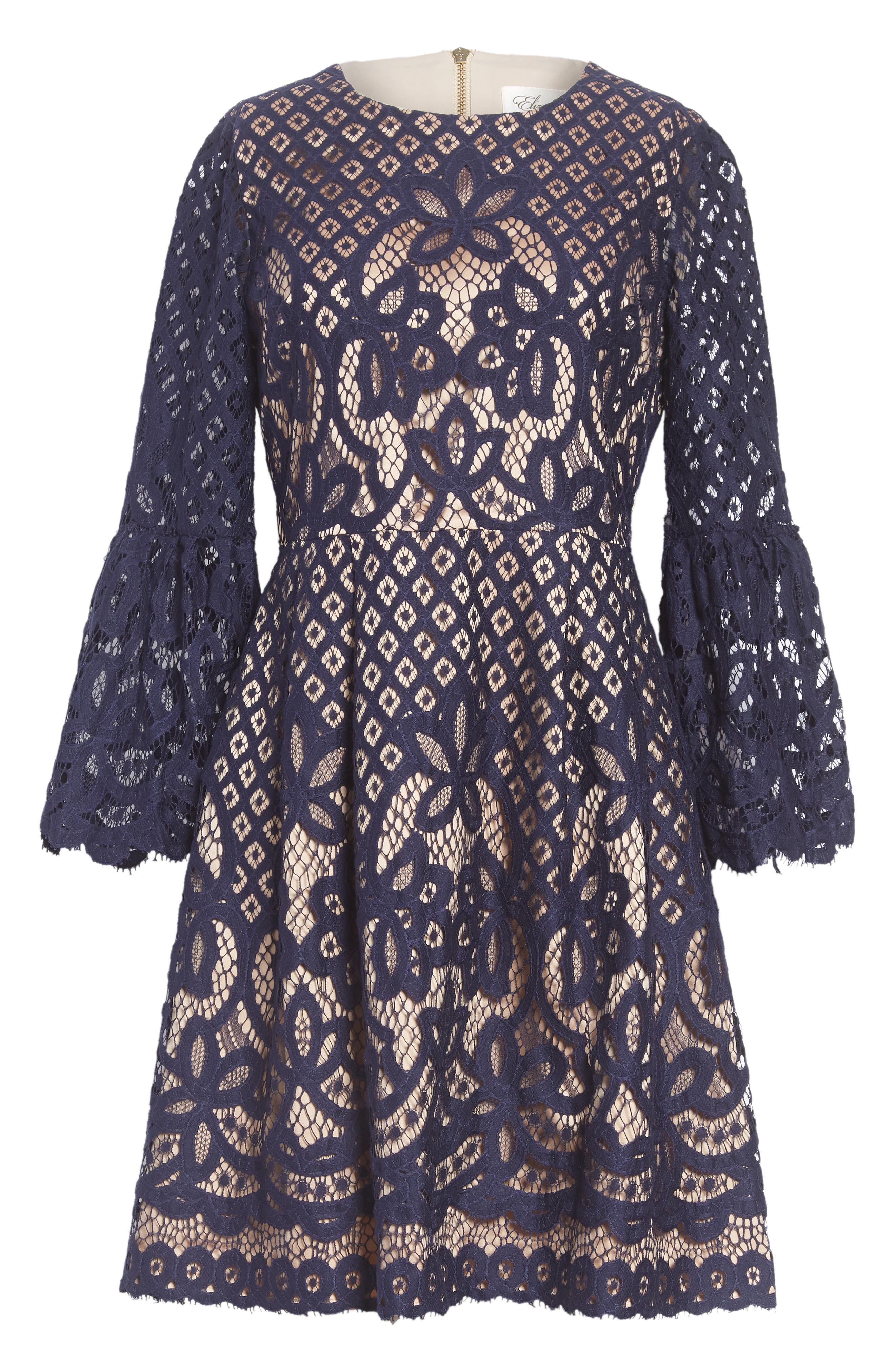 ELIZA J, Bell Sleeve Lace Fit & Flare Dress, Main thumbnail 1, color, 410