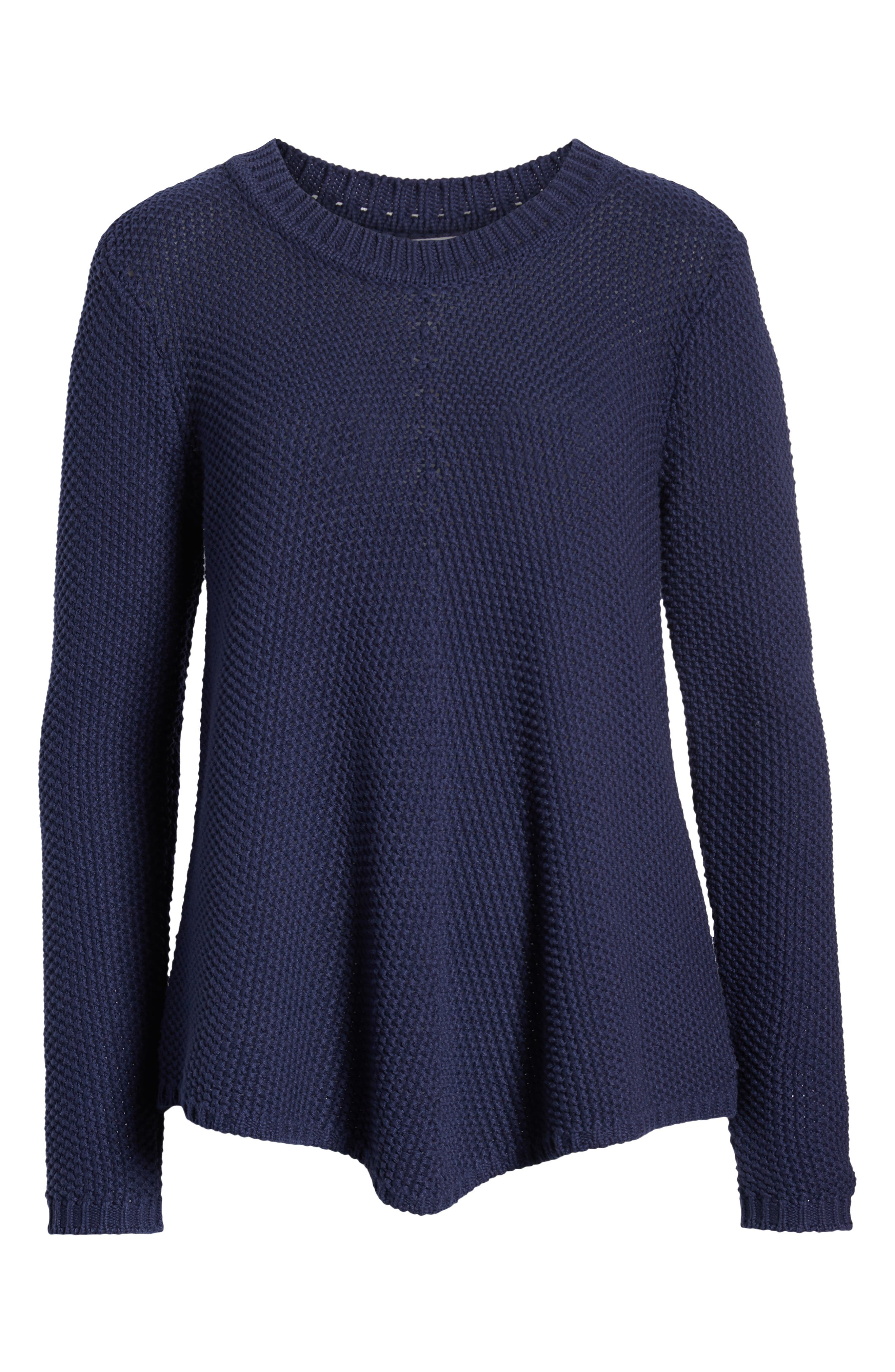 CASLON<SUP>®</SUP>, Stitch Stripe Sweater, Alternate thumbnail 6, color, NAVY PEACOAT