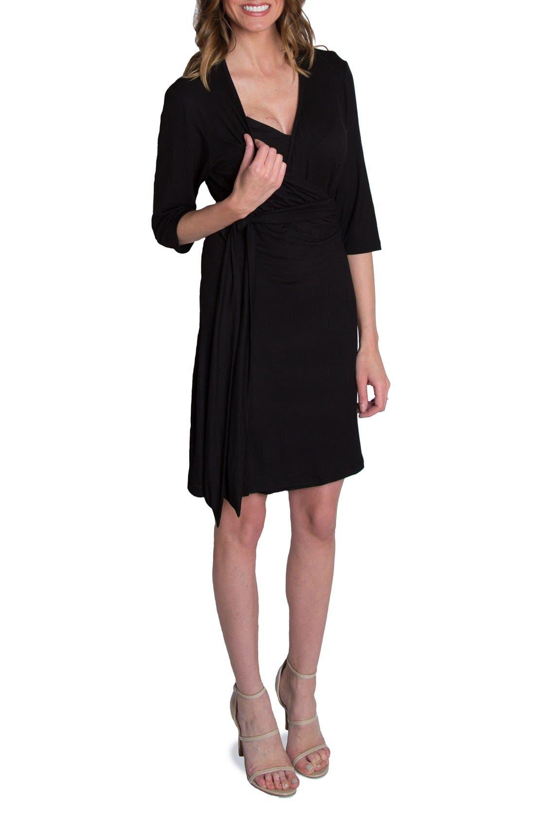 UDDERLY HOT MAMA, 'Whimsical' Nursing Wrap Dress, Alternate thumbnail 4, color, BLACK
