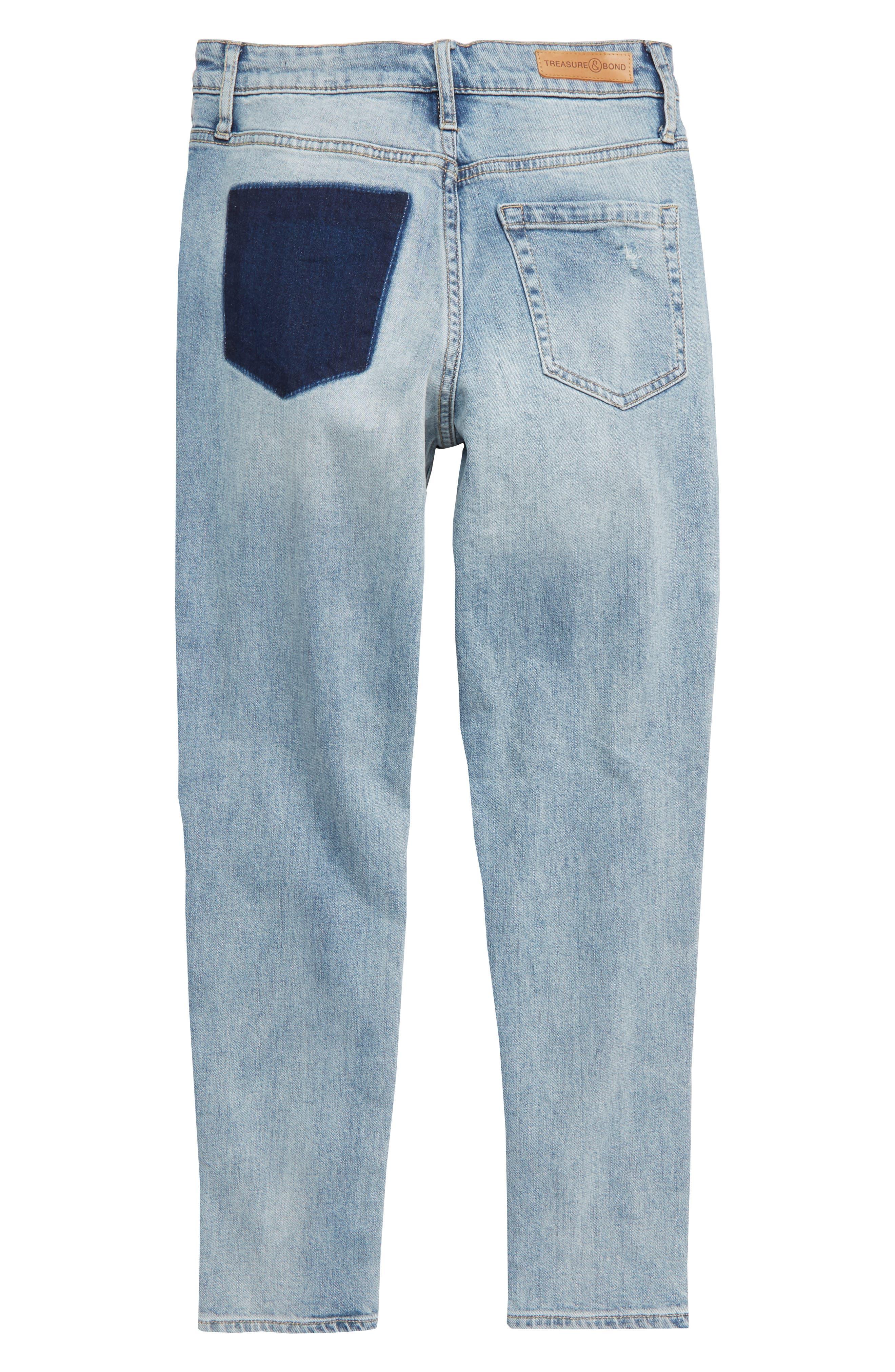 TREASURE & BOND, High Waist Distressed Skinny Jeans, Alternate thumbnail 2, color, VINTAGE LIGHT WASH
