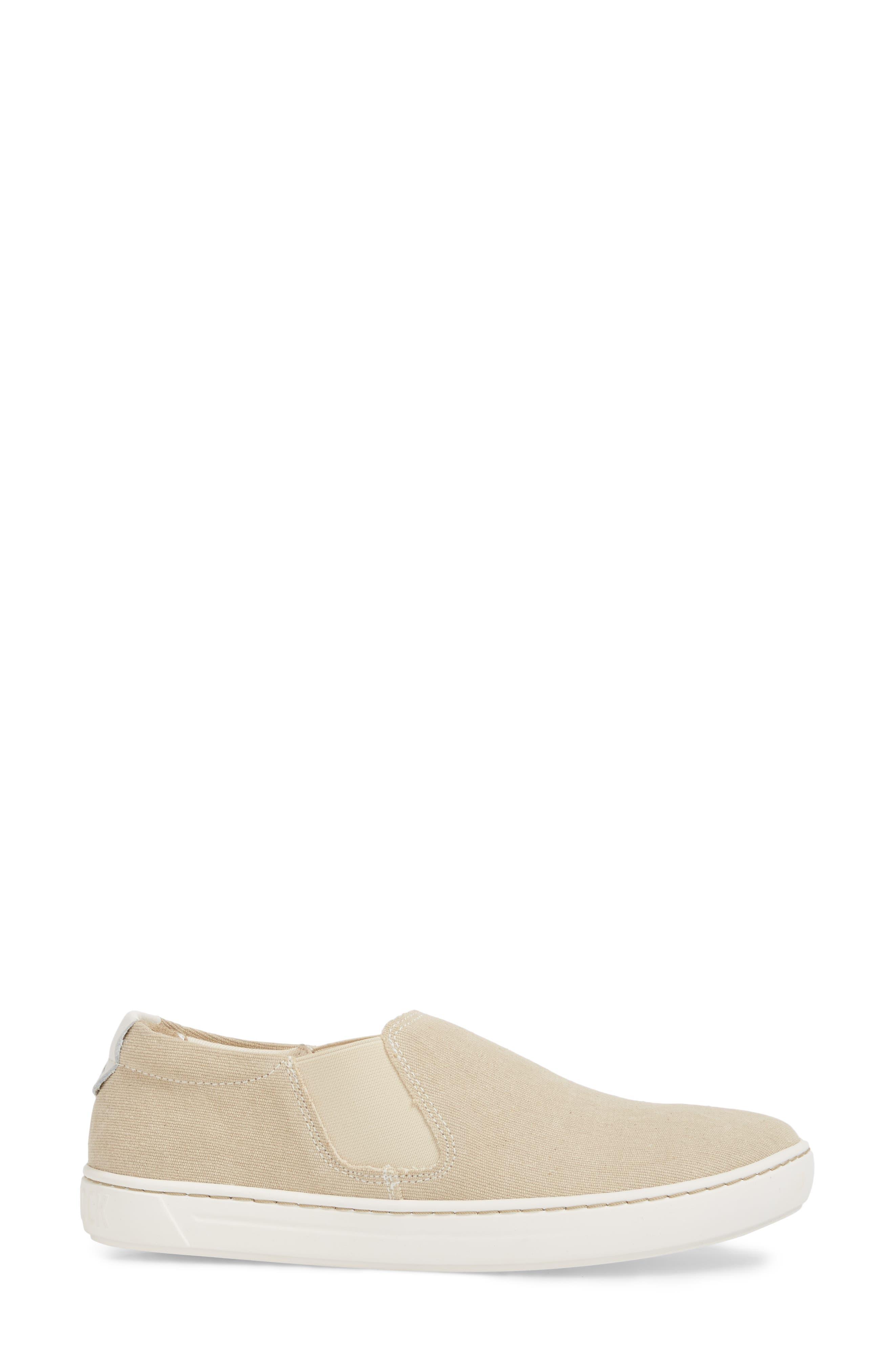 BIRKENSTOCK, Barrie Slip-On Sneaker, Alternate thumbnail 3, color, SAND CANVAS