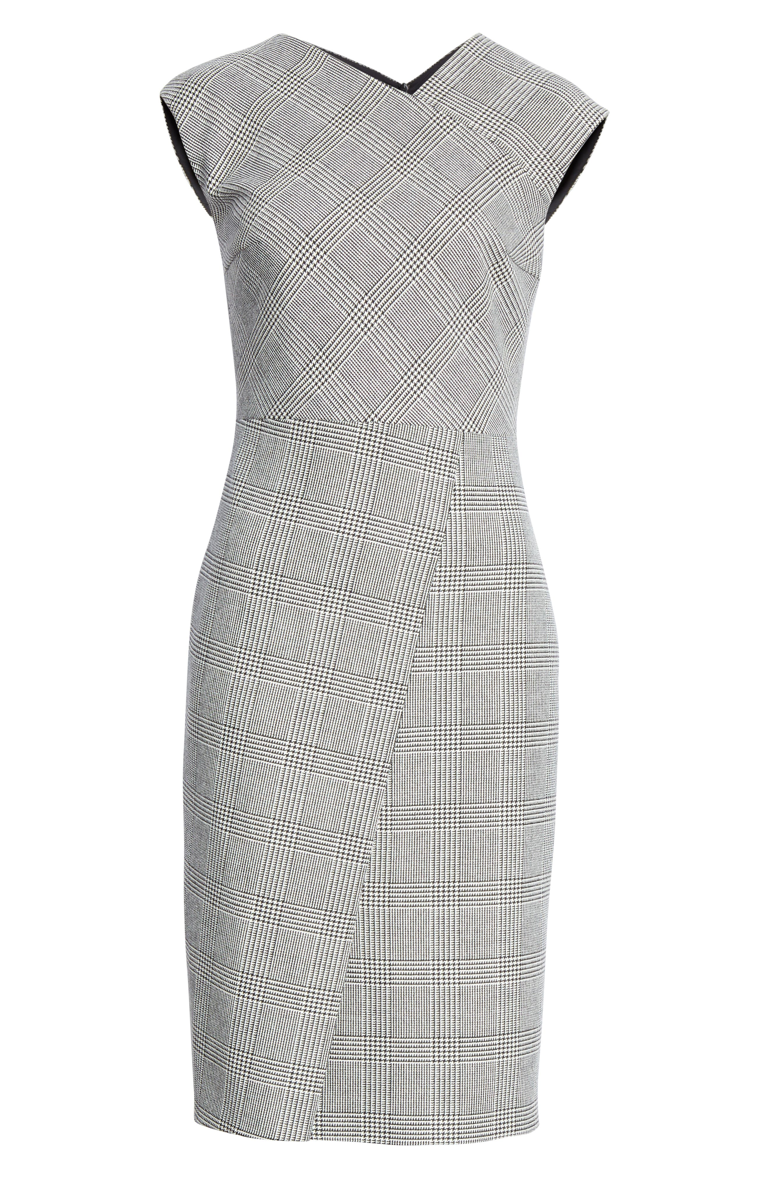 BOSS, Dechesta Glen Plaid Sheath Dress, Alternate thumbnail 7, color, 020