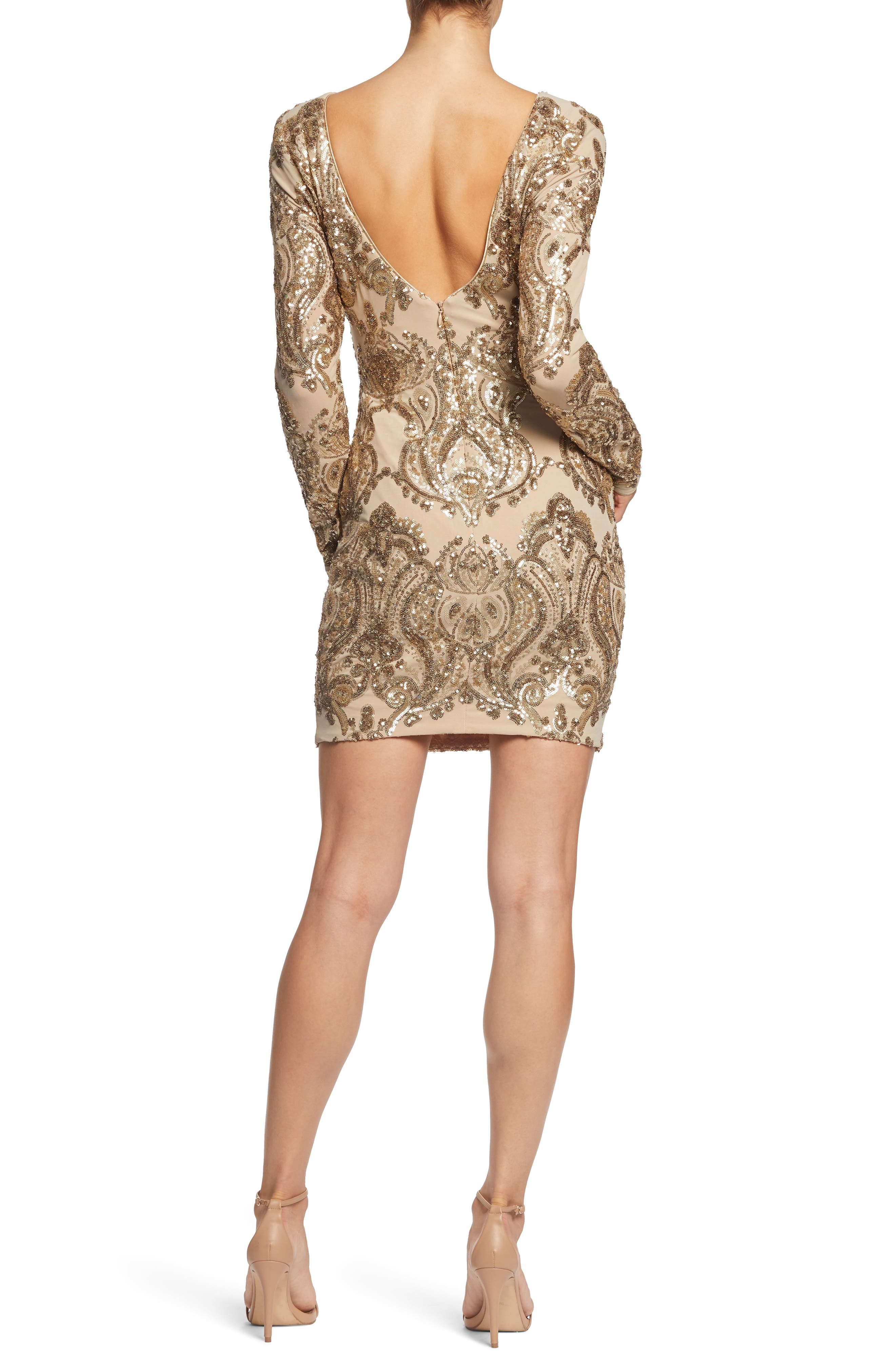 DRESS THE POPULATION, Lola Sequin Body-Con Dress, Alternate thumbnail 2, color, NUDE/ GOLD