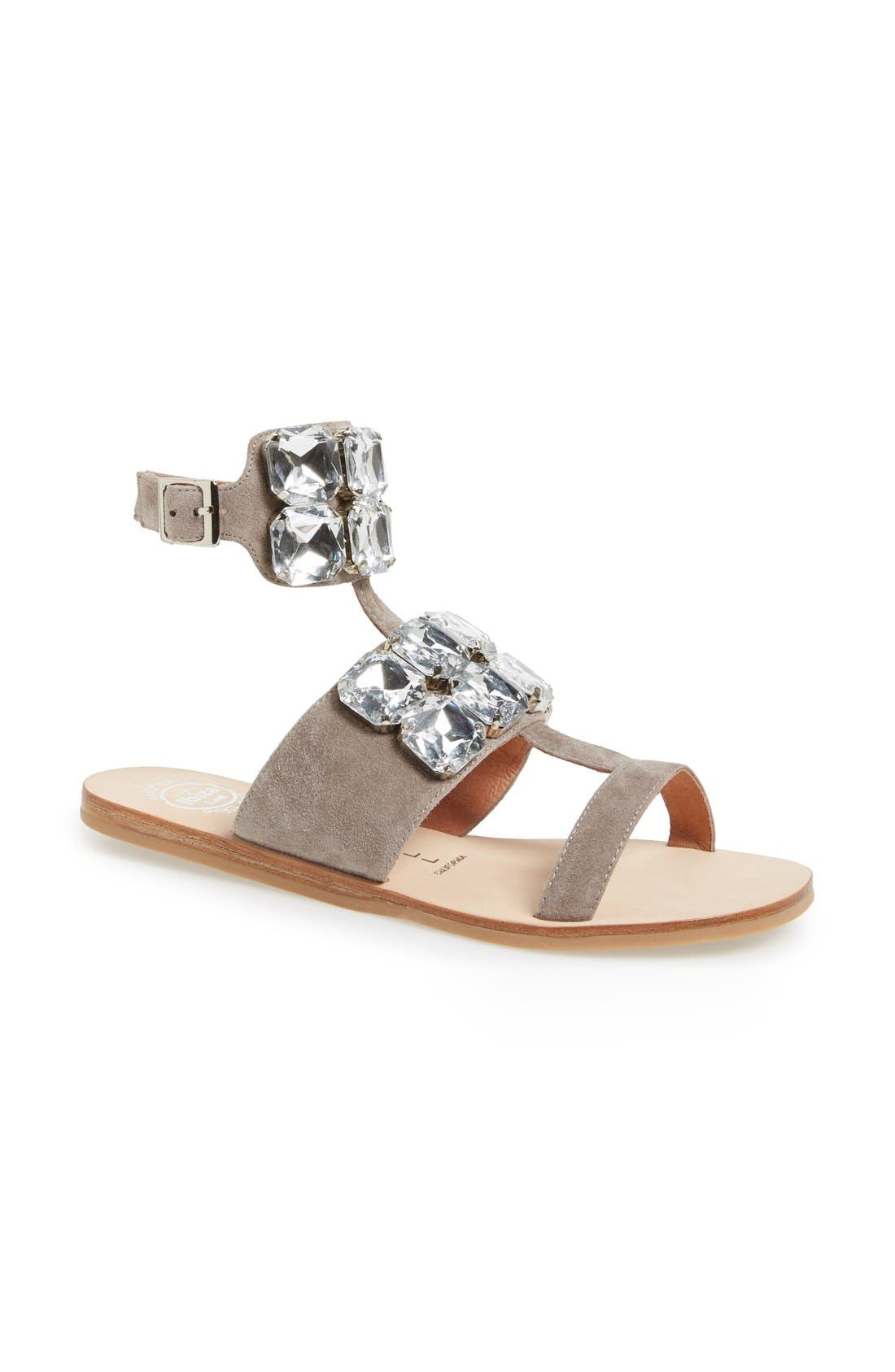 JEFFREY CAMPBELL, 'Sabita' Jeweled Suede Ankle Strap Sandal, Main thumbnail 1, color, 060