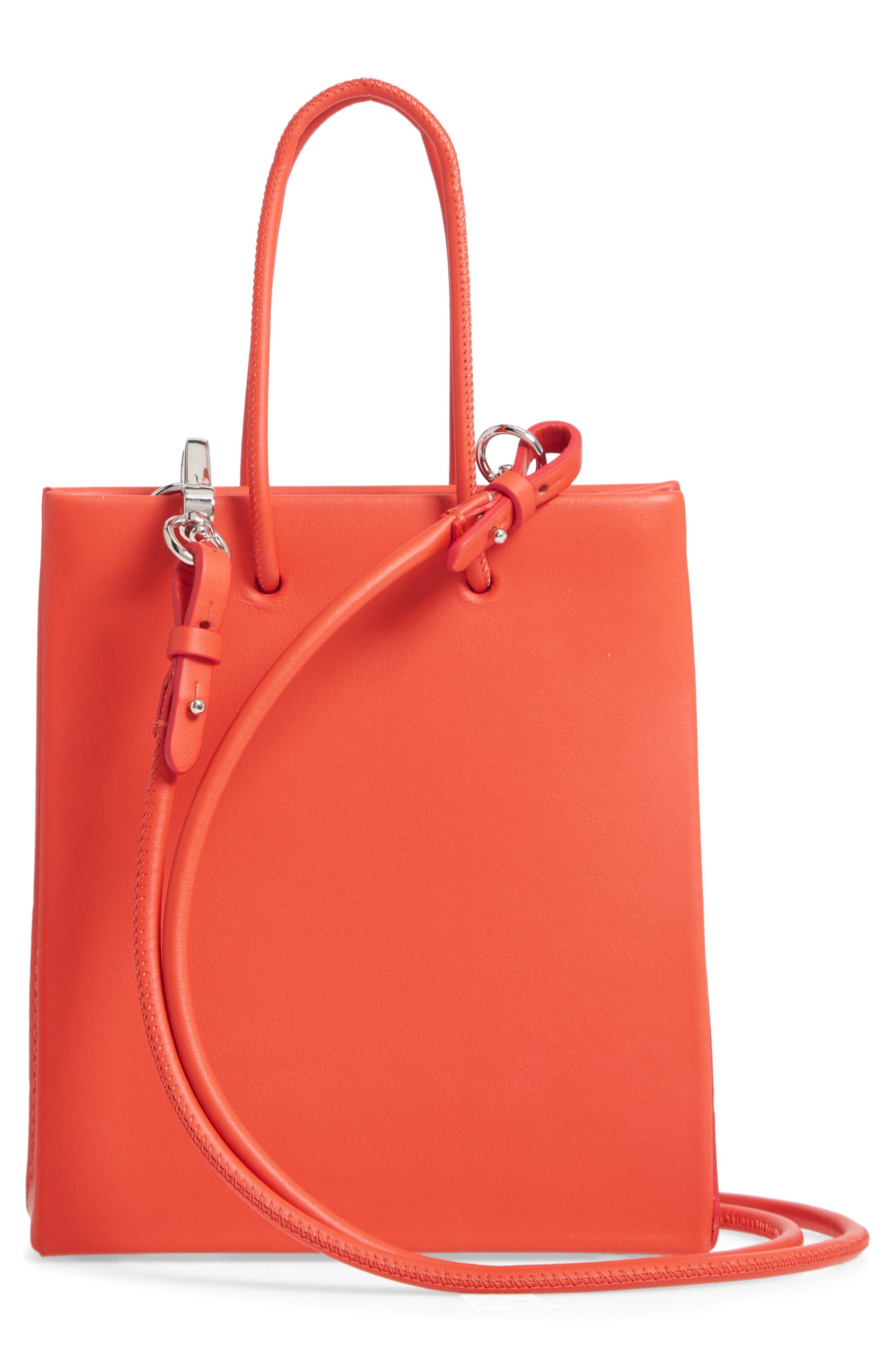 MEDEA, Prima Short Calfskin Leather Bag, Alternate thumbnail 3, color, ORANGE