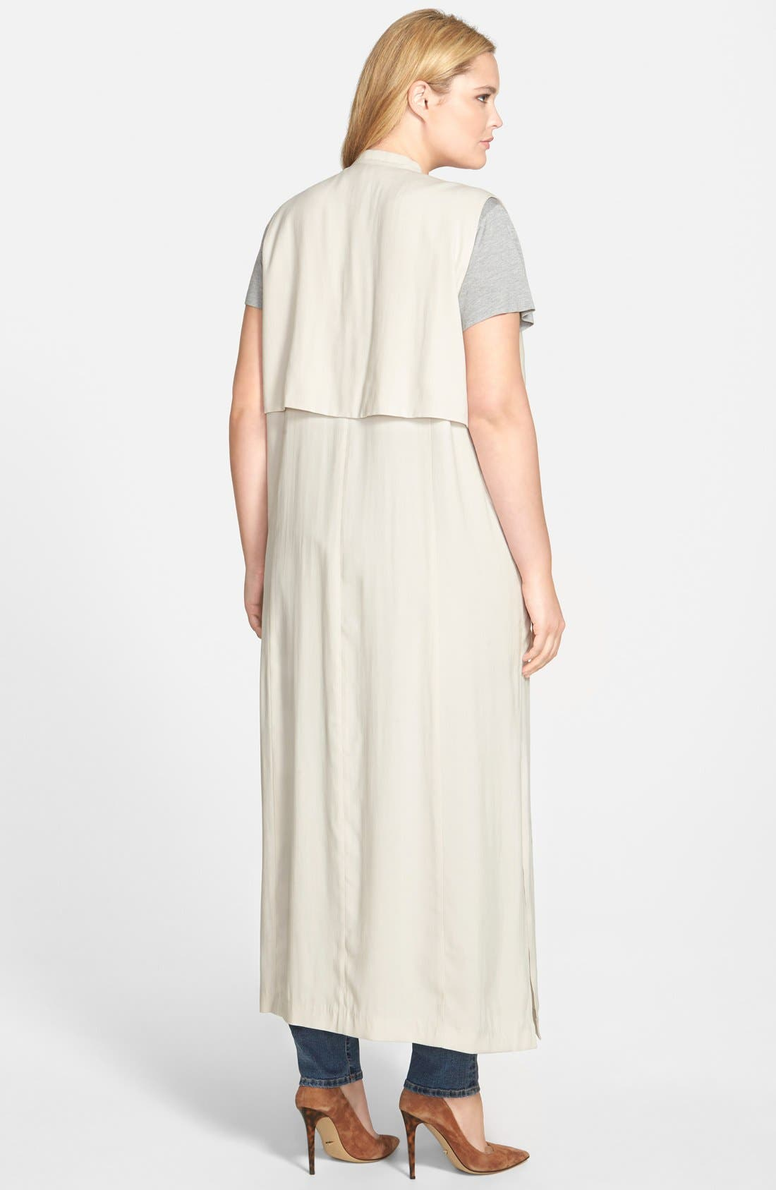 SEJOUR, Open Front Sleeveless Trench Coat, Alternate thumbnail 3, color, 250