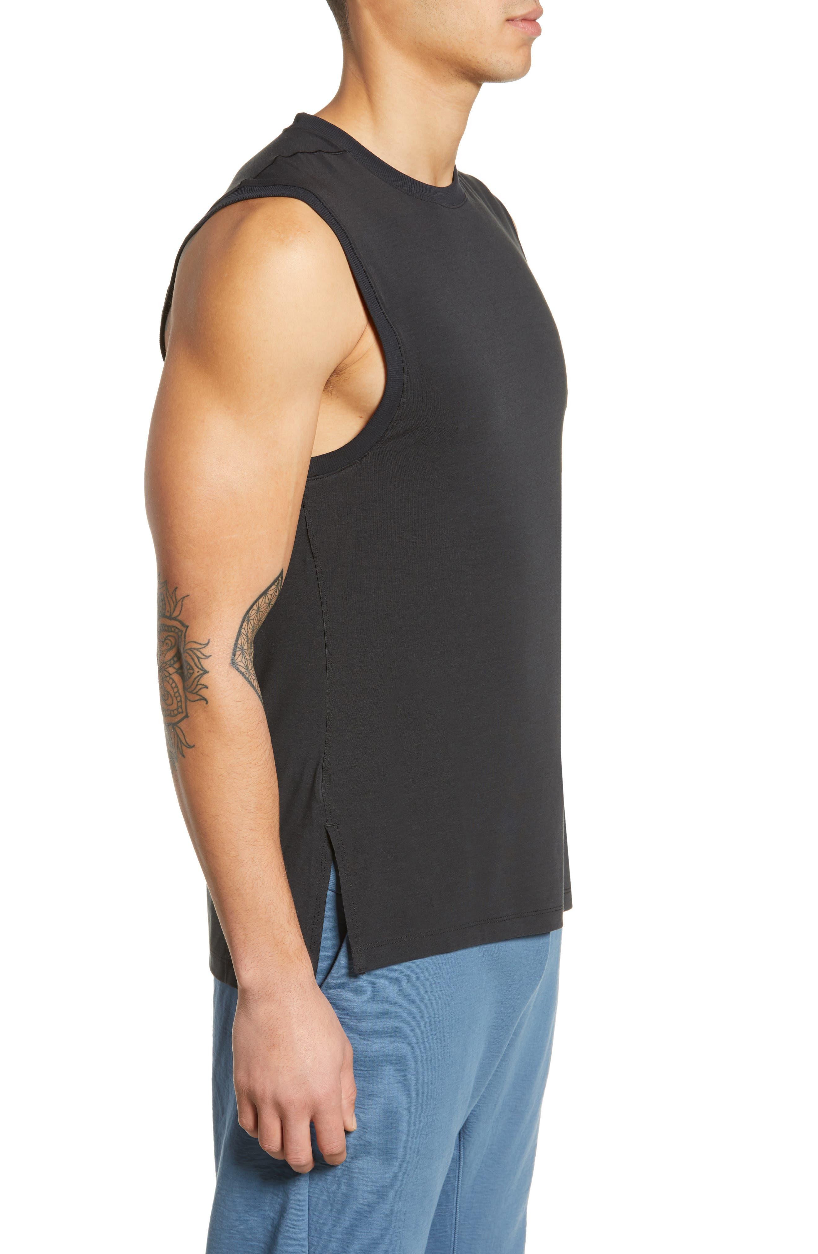 NIKE, Dry Transcent Sleeveless T-Shirt, Alternate thumbnail 3, color, BLACK/ DARK GREY