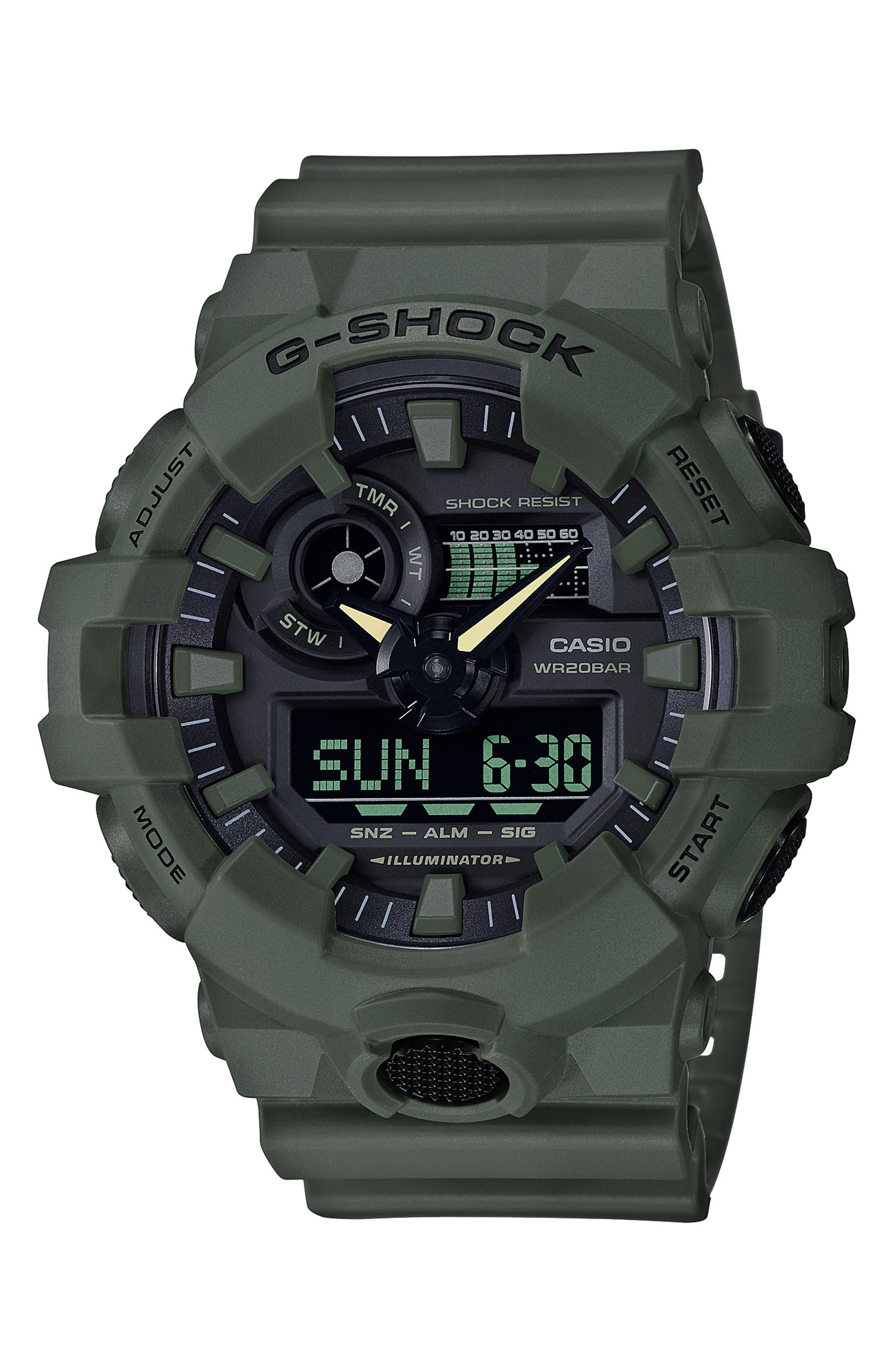 G-SHOCK BABY-G, Military Ana-Digi Watch, 53mm, Main thumbnail 1, color, GREEN/ BLACK/ GREEN