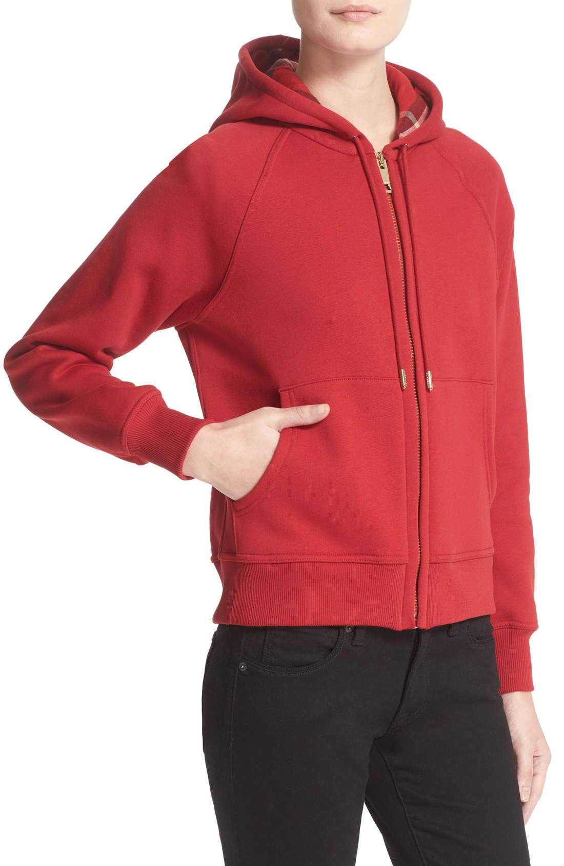 BURBERRY, Check Print Hoodie, Alternate thumbnail 9, color, PARADE RED