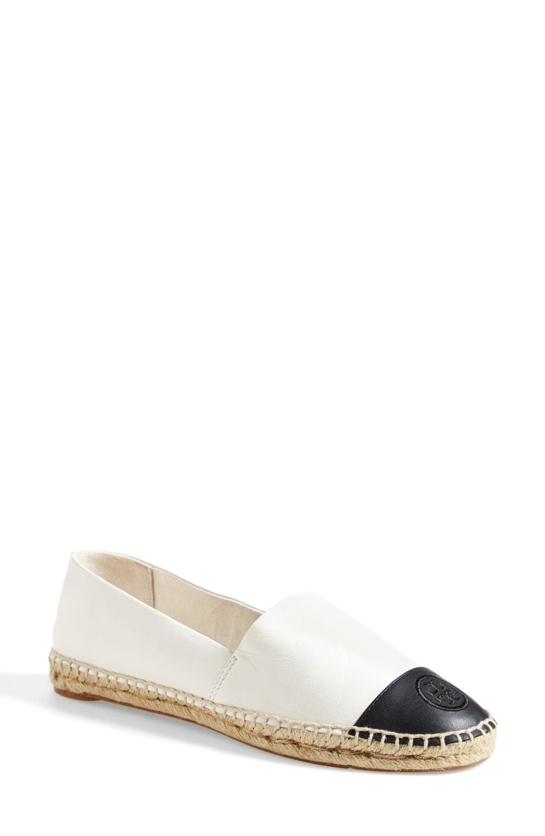 TORY BURCH, Colorblock Espadrille Flat, Main thumbnail 1, color, IVORY/ BLACK