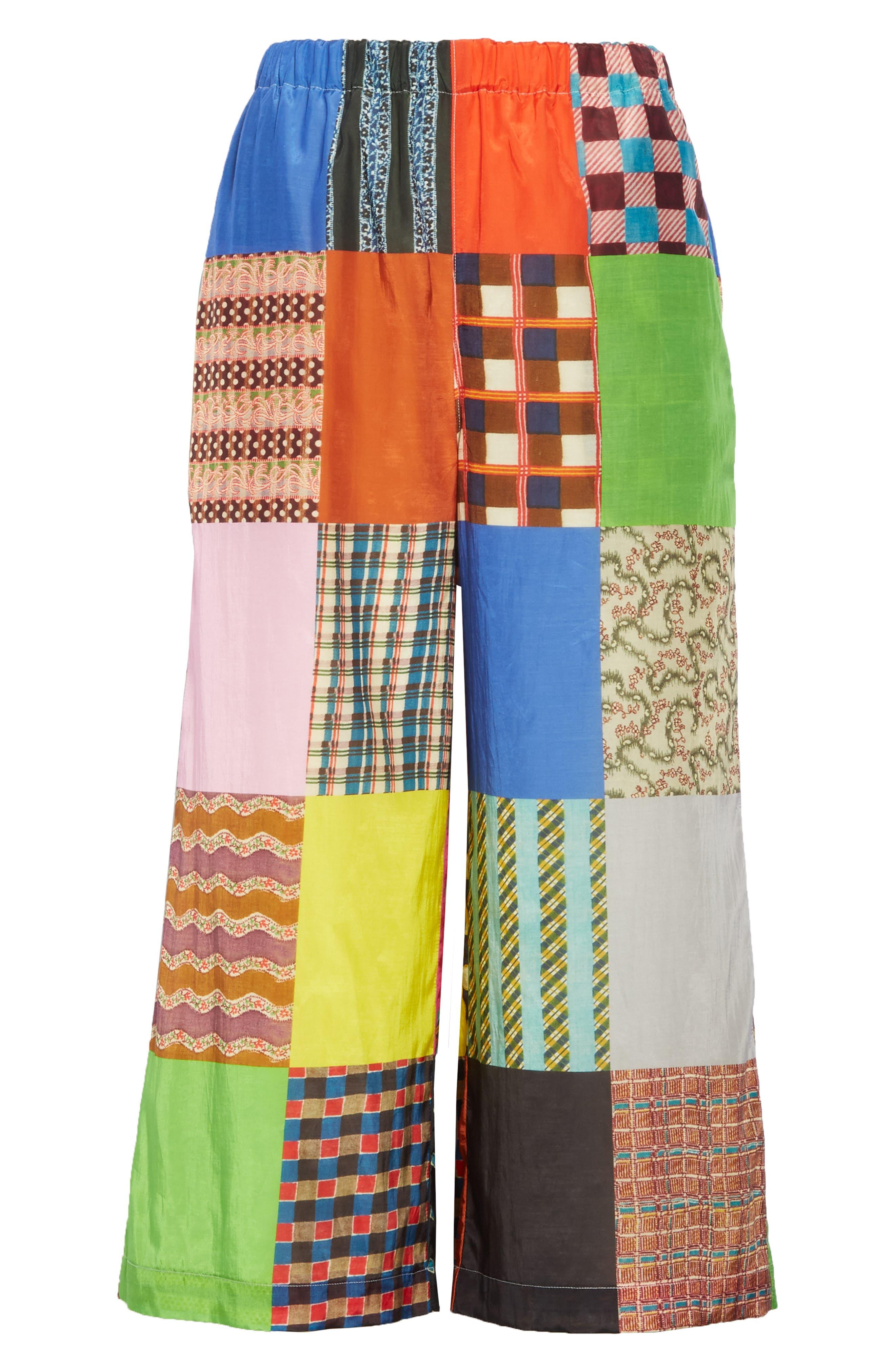 TRICOT COMME DES GARÇONS, Patchwork Print Culottes, Alternate thumbnail 6, color, B PATTERN