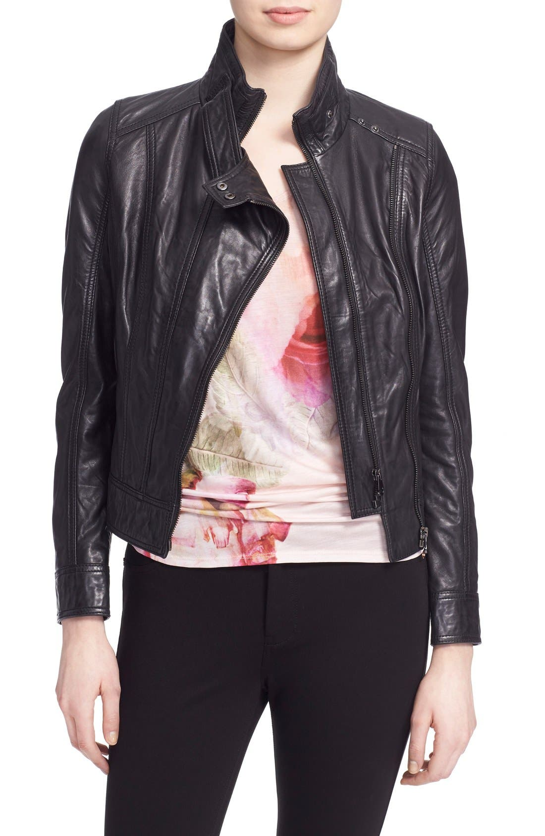 TED BAKER LONDON, 'Roark' Stand Collar Leather Jacket, Main thumbnail 1, color, 001