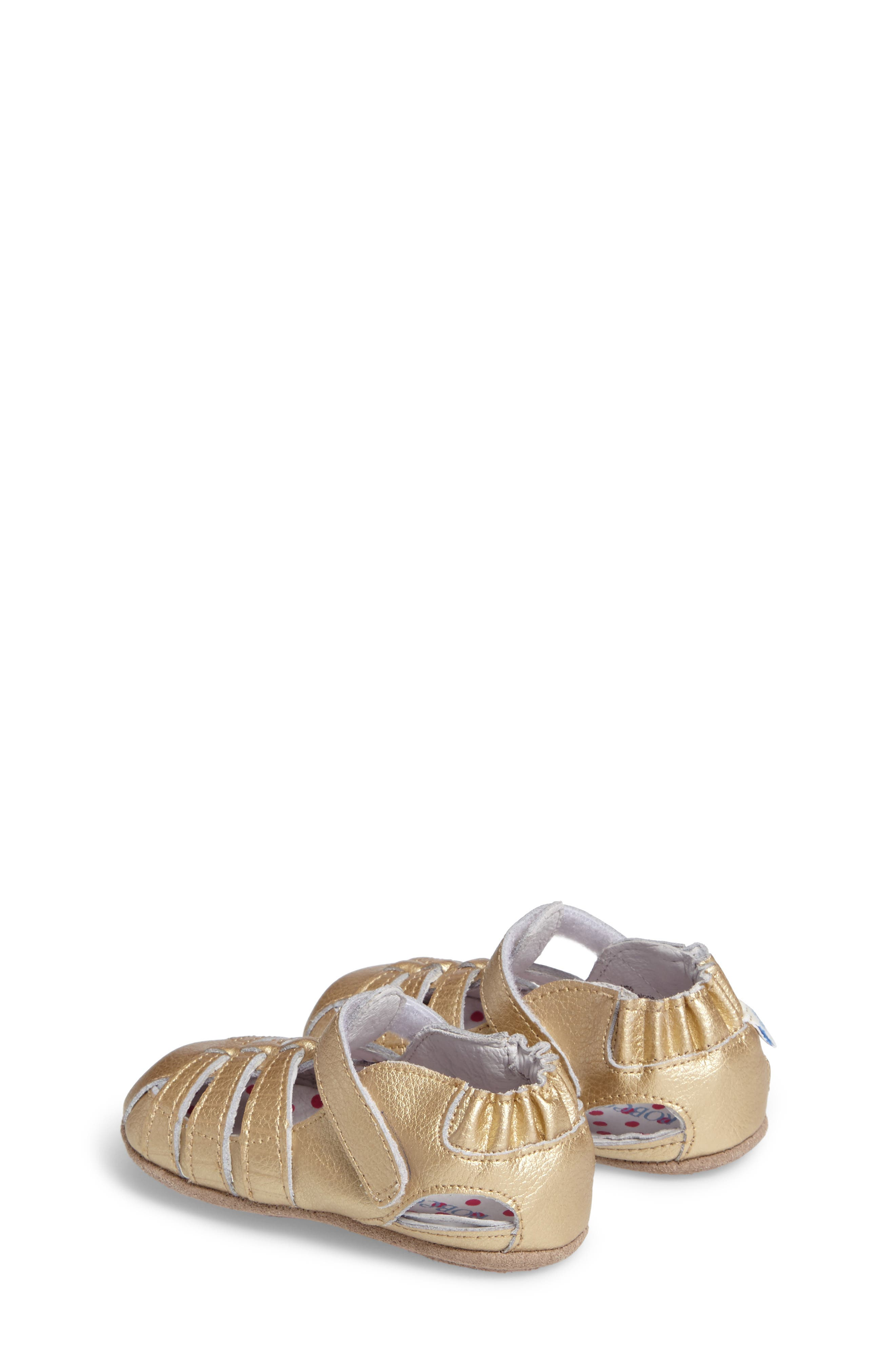 ROBEEZ<SUP>®</SUP>, Paris Crib Shoe, Alternate thumbnail 2, color, GOLD