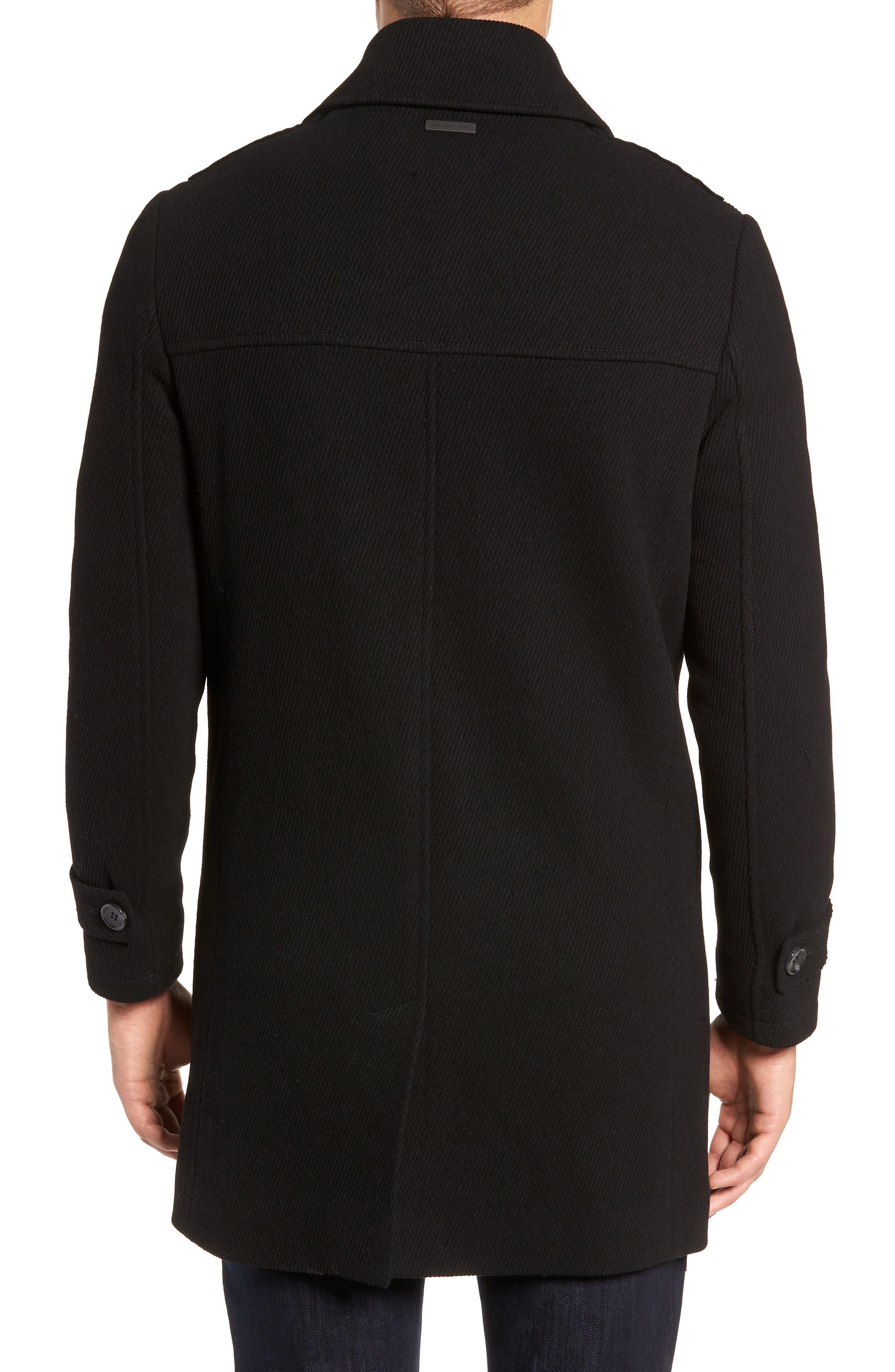 MARC NEW YORK, Edmund Wool Blend Twill Car Coat, Alternate thumbnail 2, color, BLACK