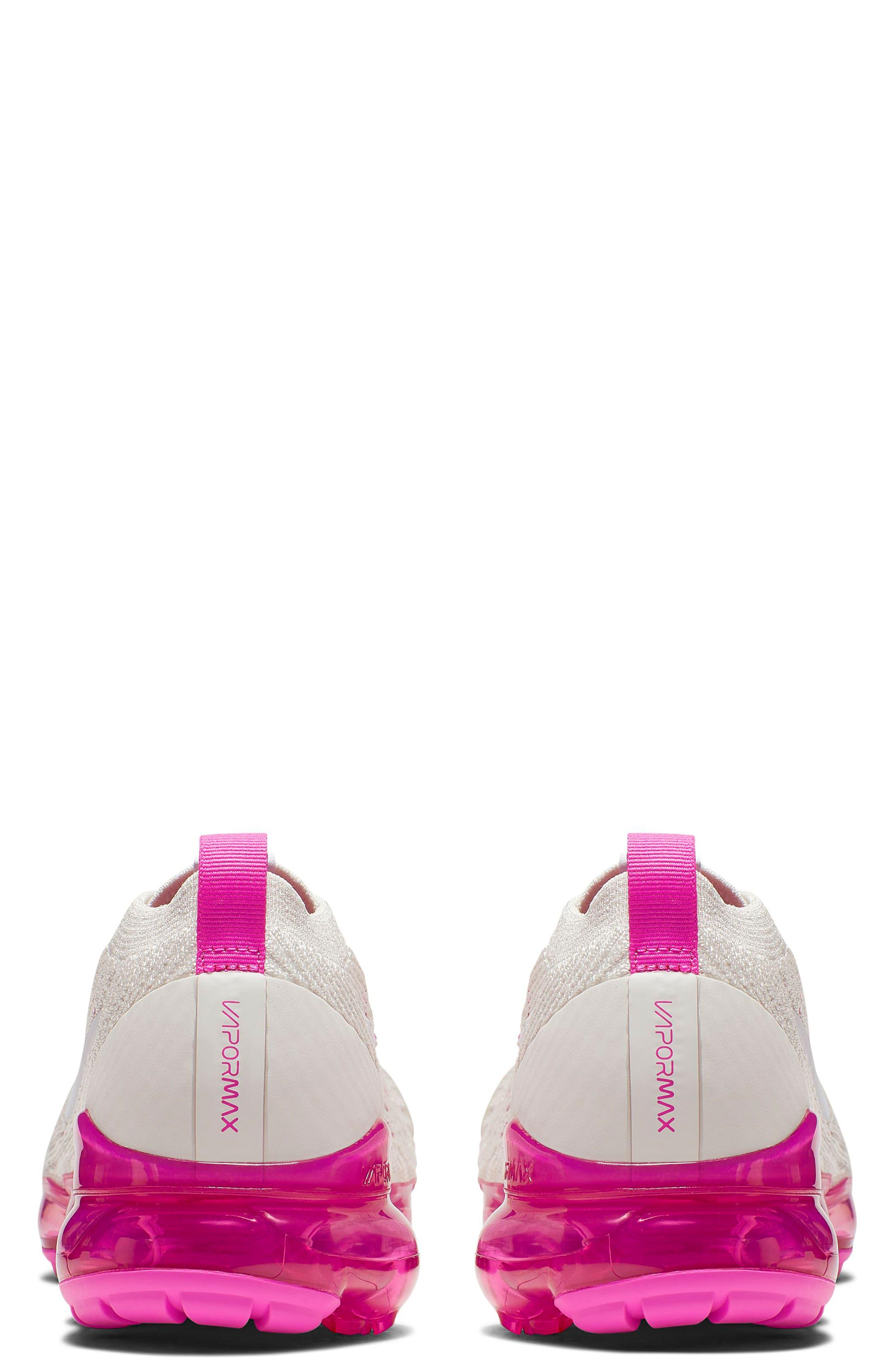 NIKE, Air VaporMax Flyknit 3 Running Shoe, Alternate thumbnail 2, color, PHANTOM/ WHITE/ FUCHSIA/ PINK