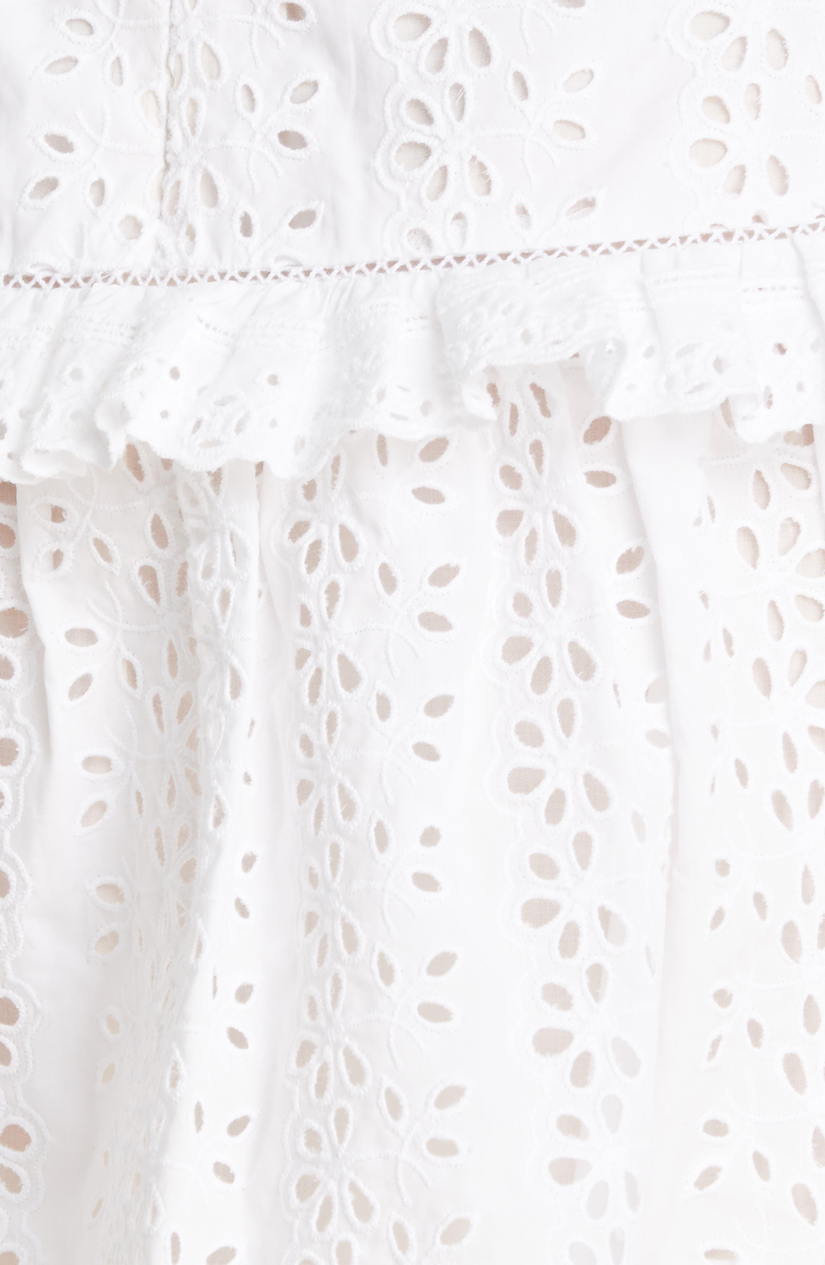 REBECCA TAYLOR, Karina Cotton Eyelet Skirt, Alternate thumbnail 5, color, MILK
