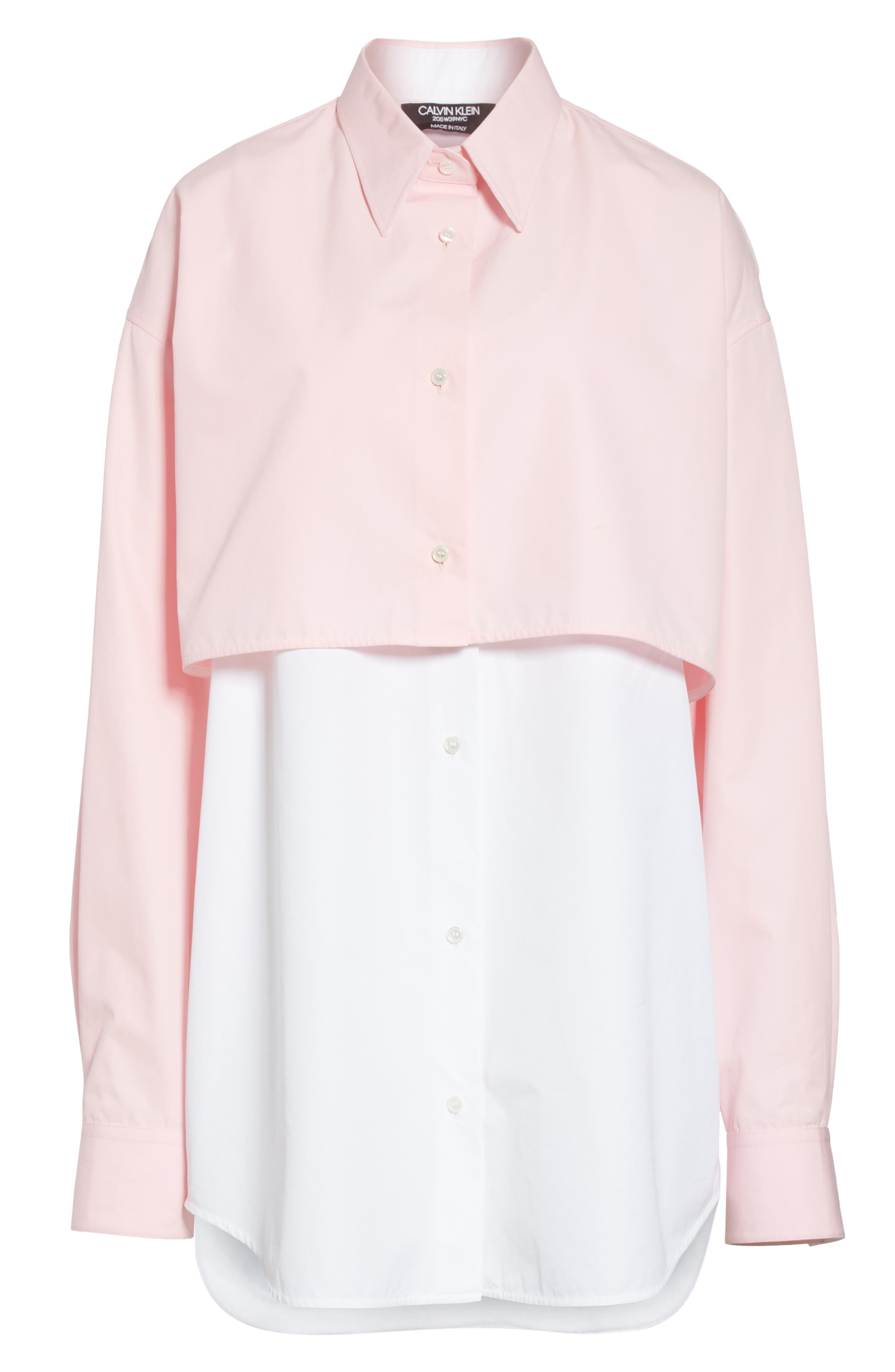 CALVIN KLEIN 205W39NYC, Layered Cotton Poplin Shirt, Alternate thumbnail 8, color, ROSE OPTIC WHITE