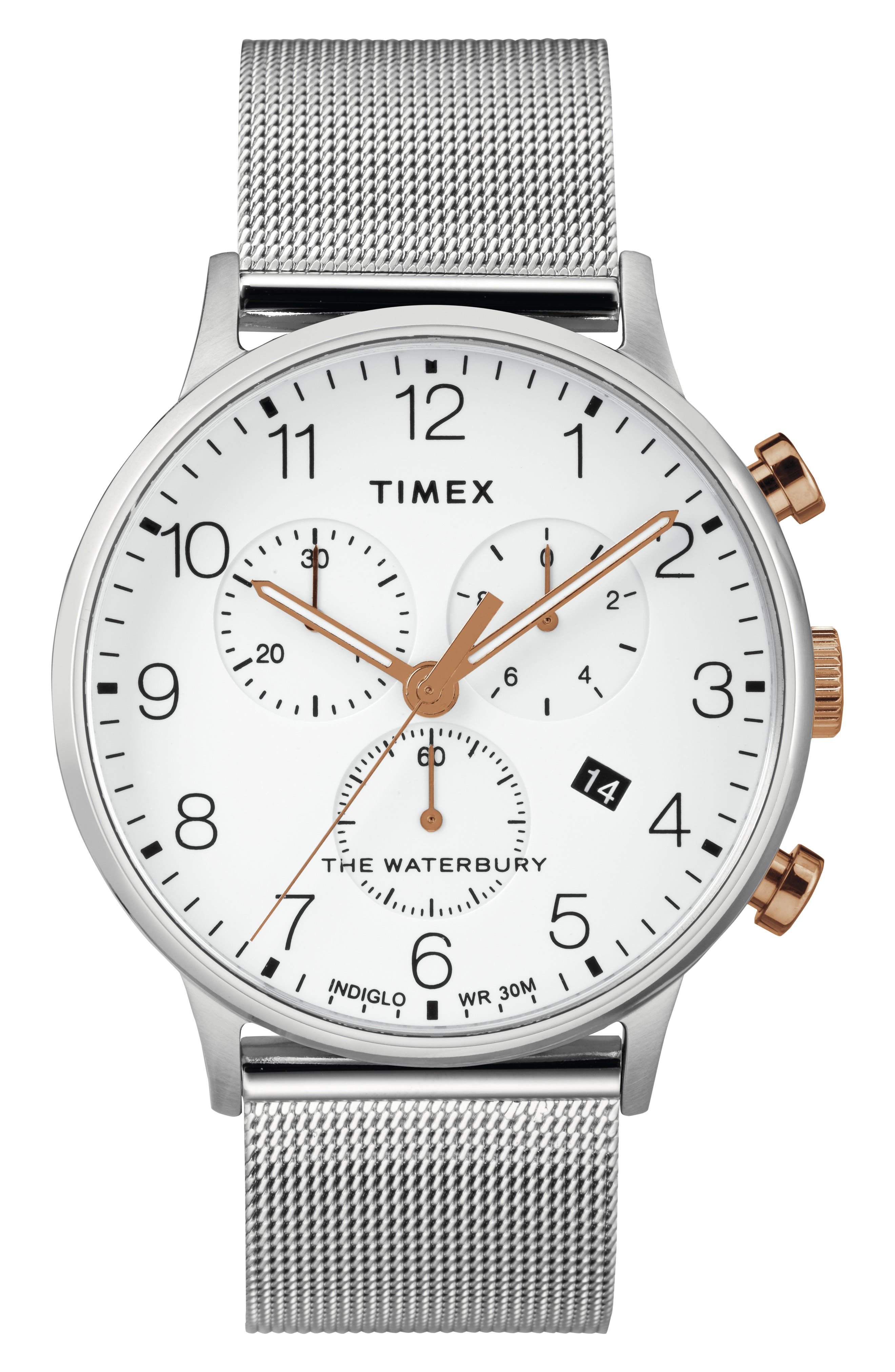 TIMEX<SUP>®</SUP>, Waterbury Chronograph Mesh Strap Watch, 40mm, Main thumbnail 1, color, SILVER/ WHITE/ ROSE GOLD