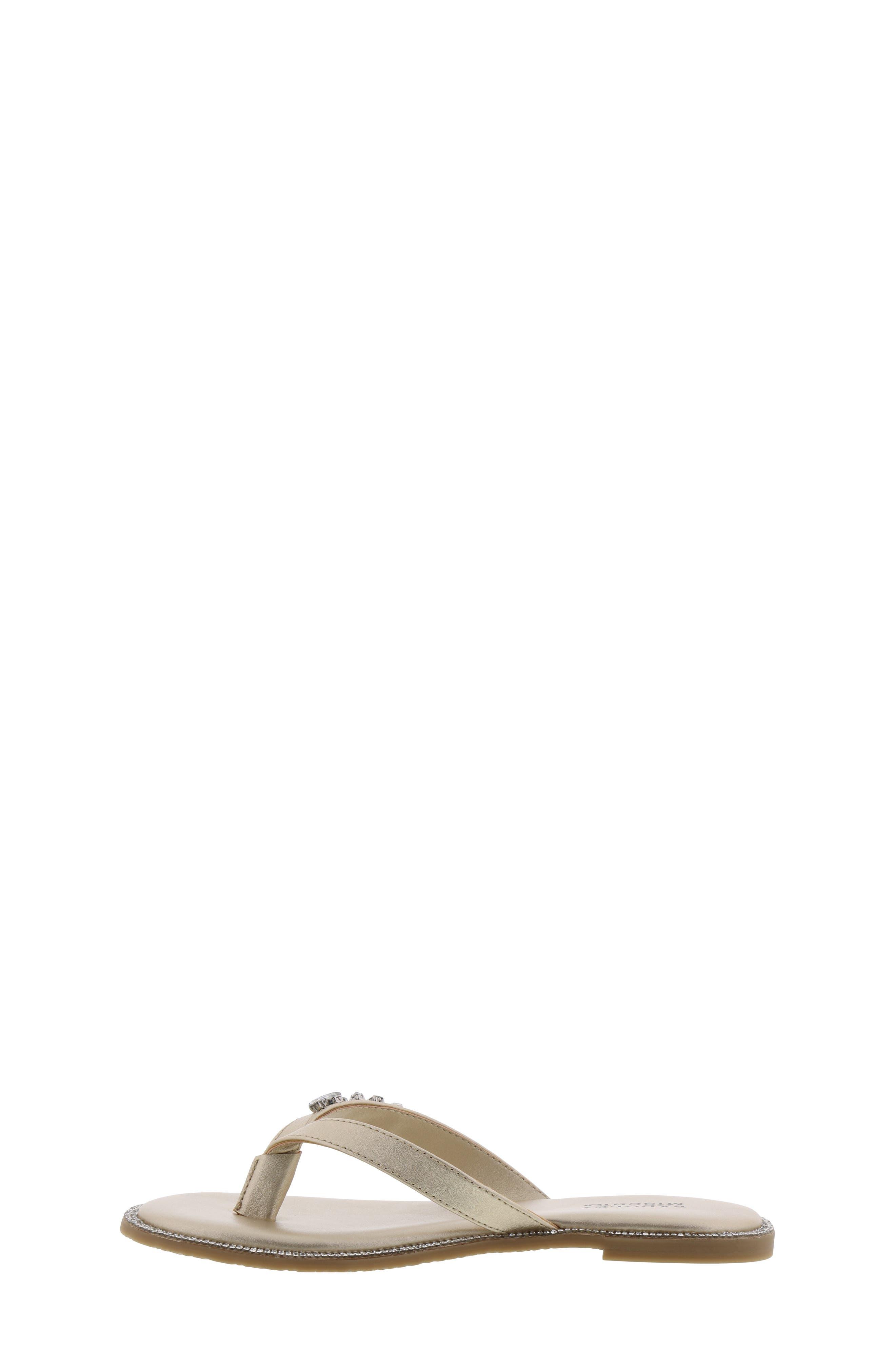 BADGLEY MISCHKA COLLECTION, Badgley Mischka Missy Flip Flop, Alternate thumbnail 8, color, LIGHT GOLD SHIMMER