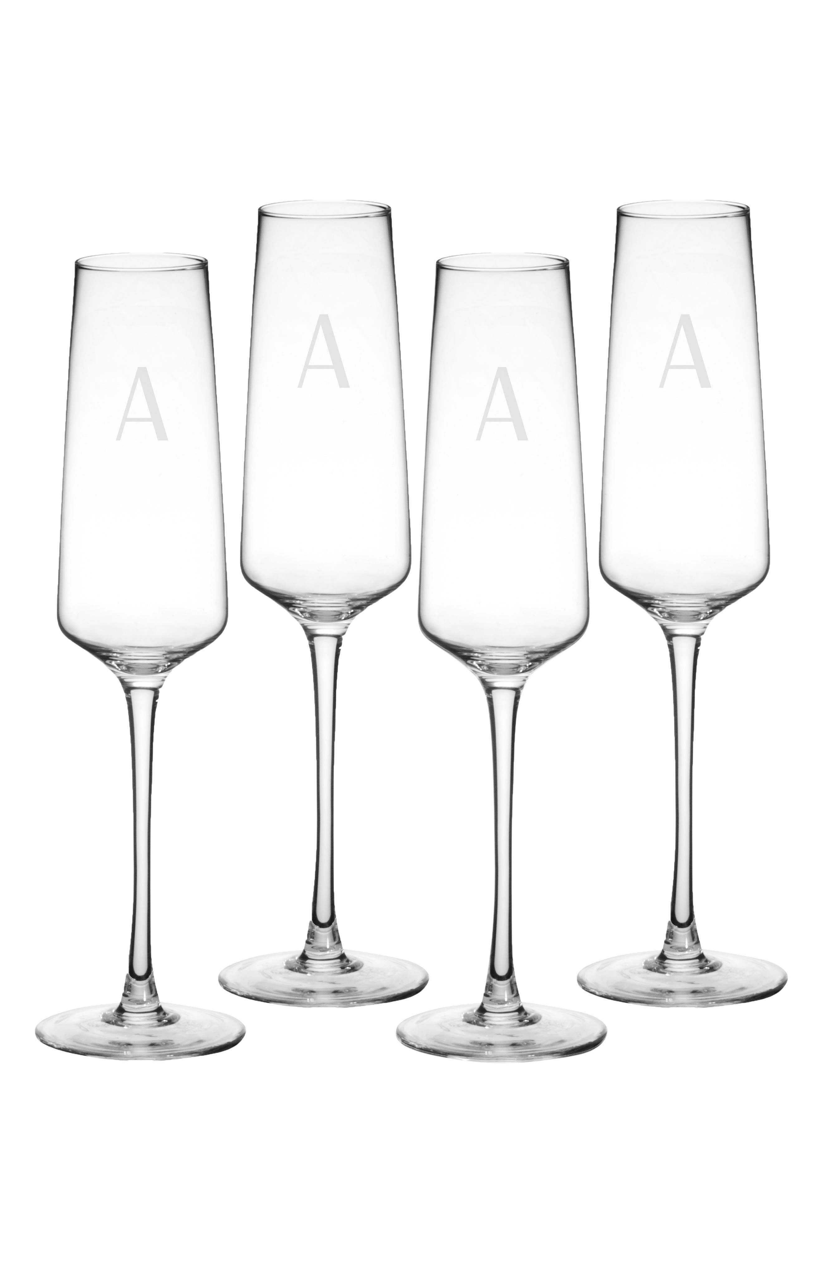 CATHY'S CONCEPTS, Estate Collection Set of 4 Monogram Champagne Flutes, Main thumbnail 1, color, A
