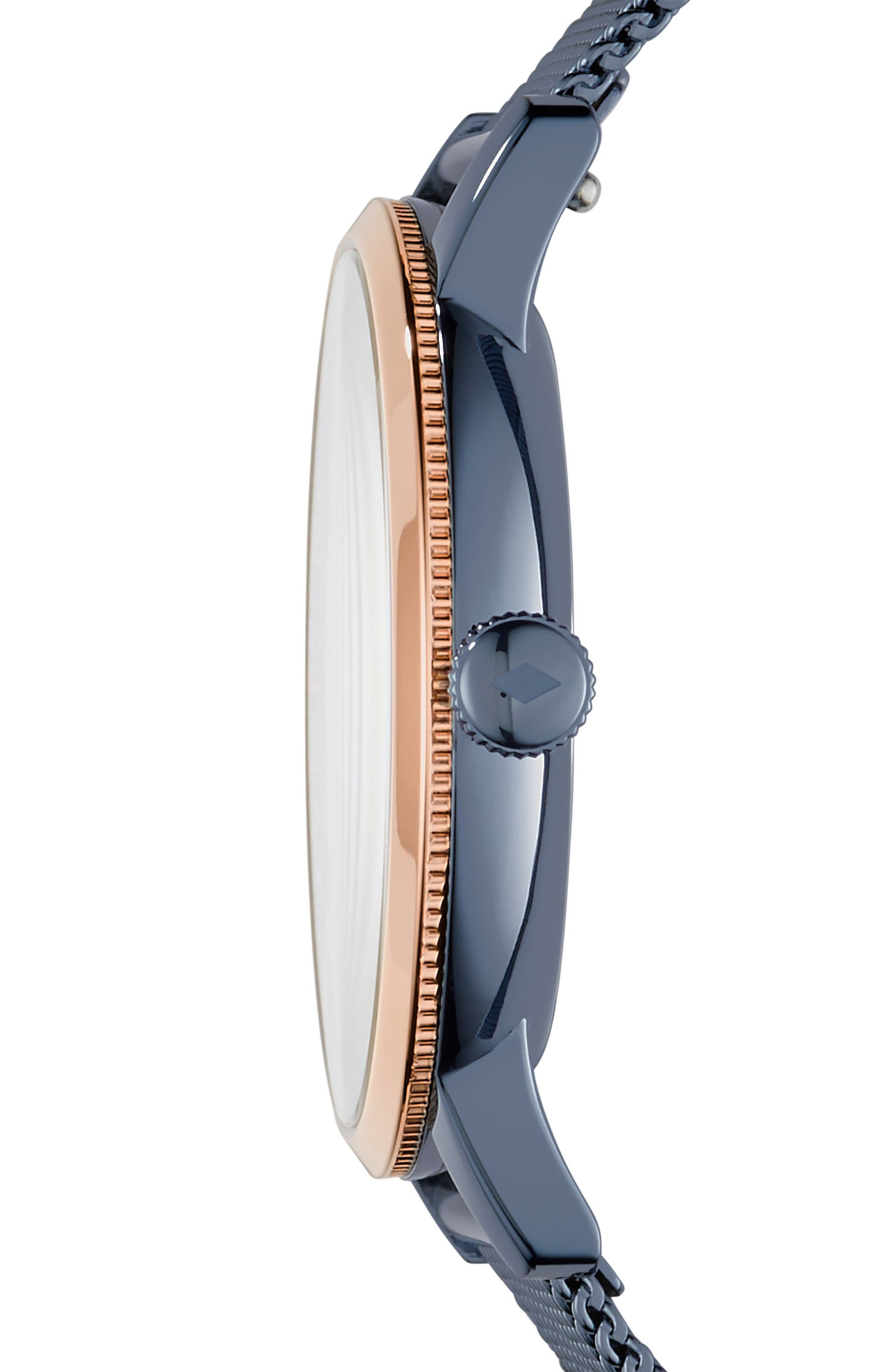 FOSSIL, Neely Mesh Strap Watch, 34mm, Alternate thumbnail 2, color, BLUE