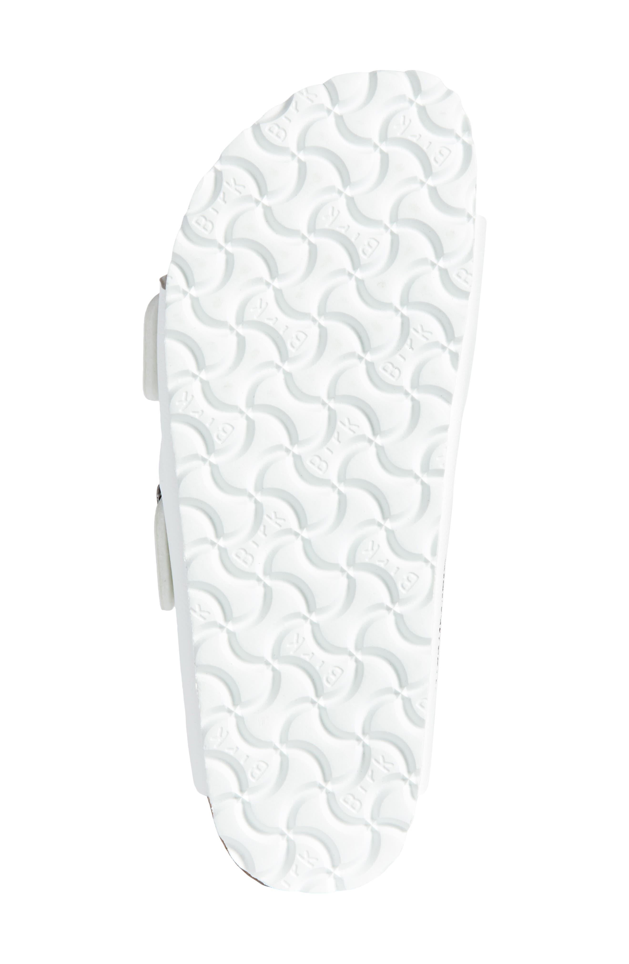 BIRKENSTOCK, 'Arizona' White Birko-Flor Sandal, Alternate thumbnail 6, color, WHITE SYNTHETIC LEATHER