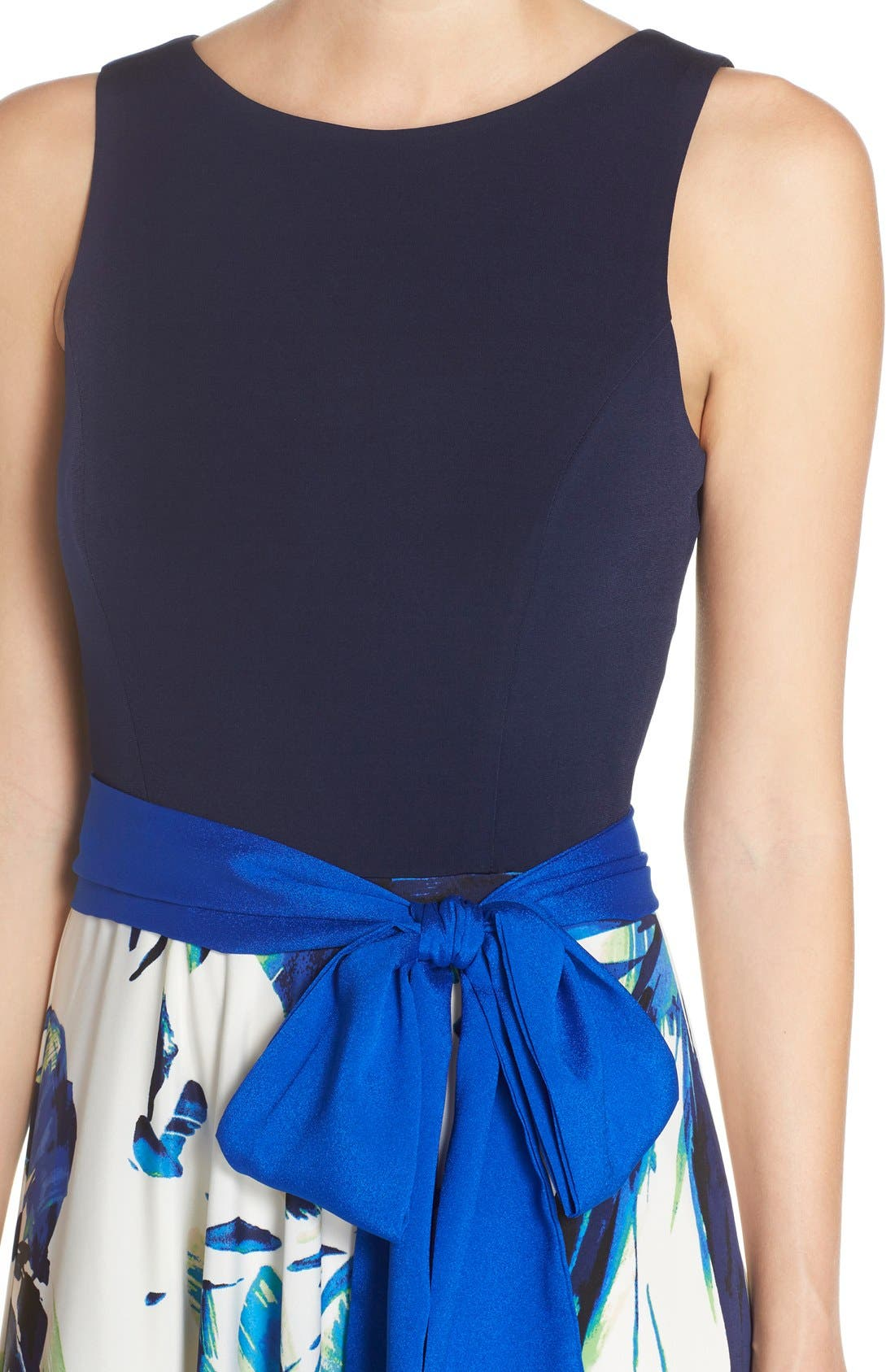ELIZA J, Jersey & Crêpe de Chine Maxi Dress, Alternate thumbnail 7, color, 421