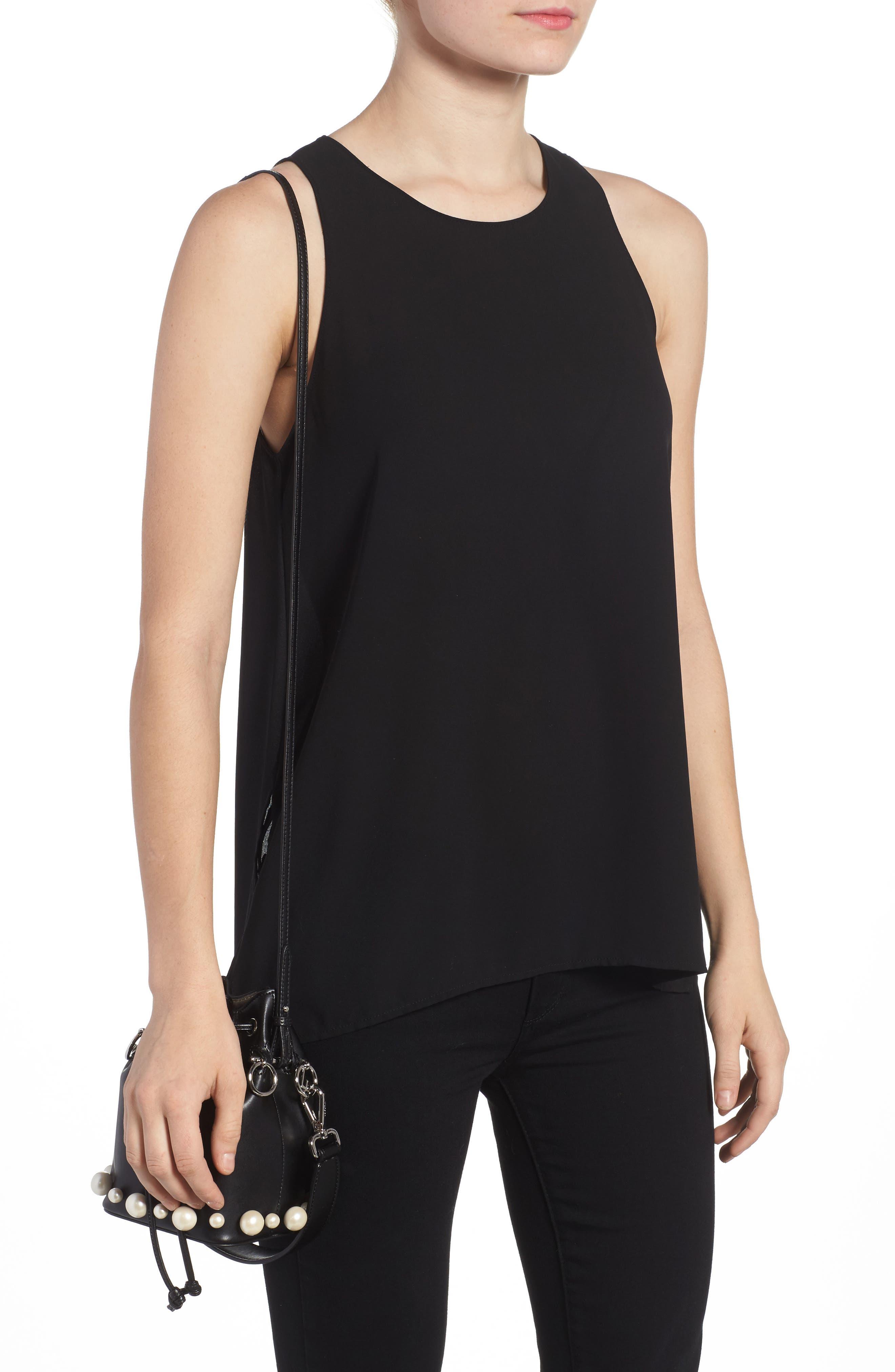 FENDI, Imitation Pearl Calfskin Bucket Bag, Alternate thumbnail 2, color, BLACK