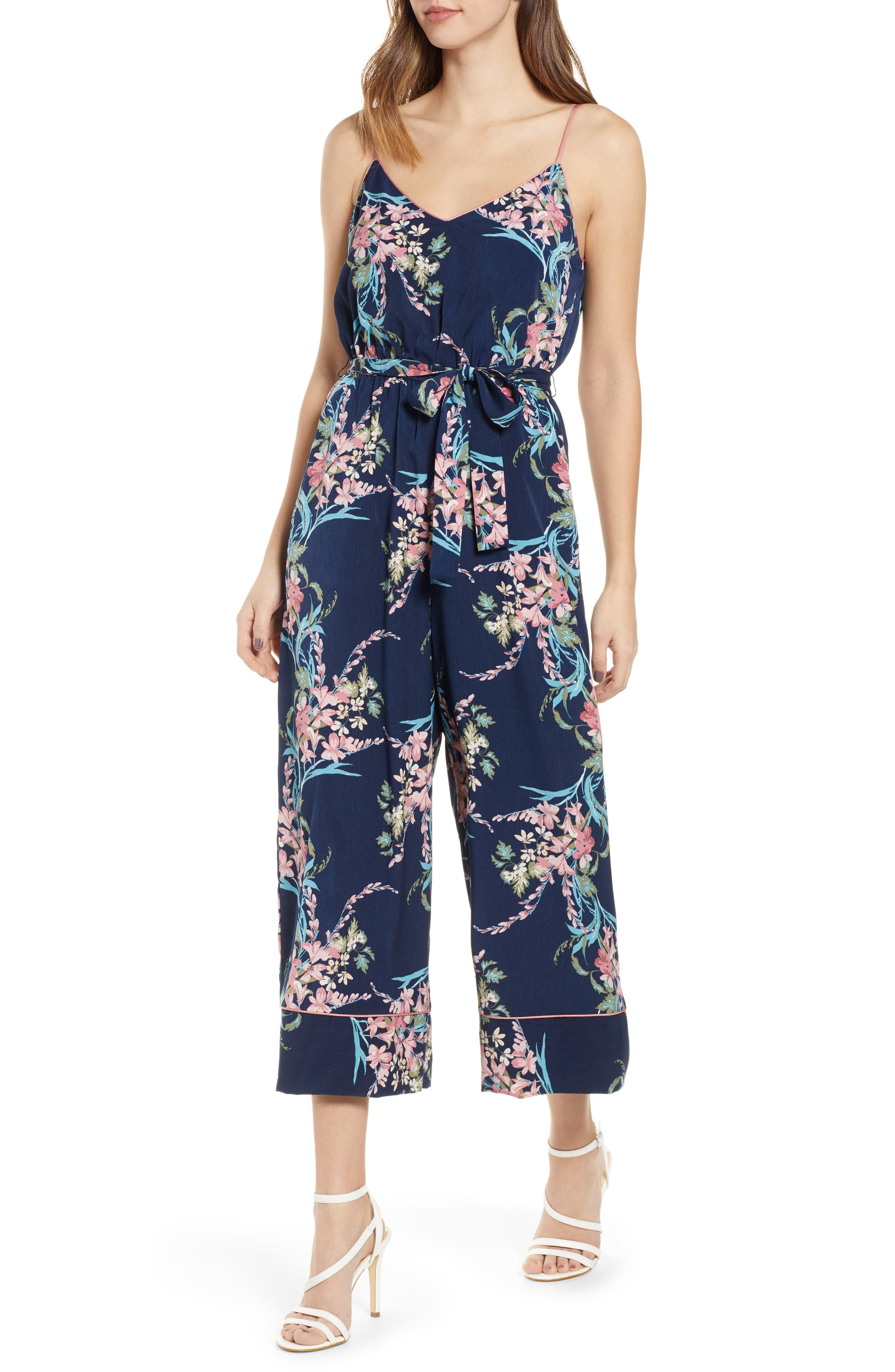 LEITH, Piped Cami Jumpsuit, Main thumbnail 1, color, NAVY PEACOAT FEM FLORAL
